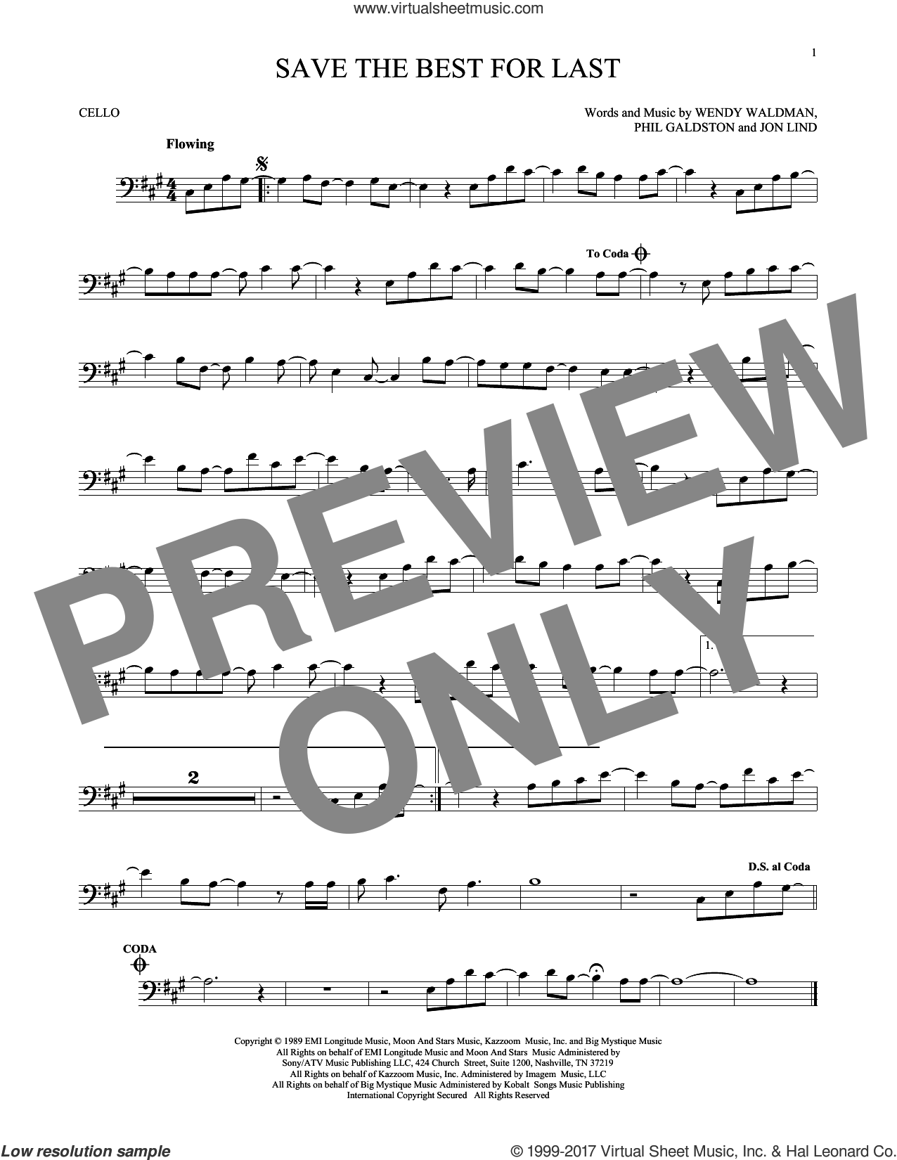 Save The Best For Last sheet music for cello solo by Vanessa Williams, Jon Lind and Wendy Waldman. Score Image Preview.