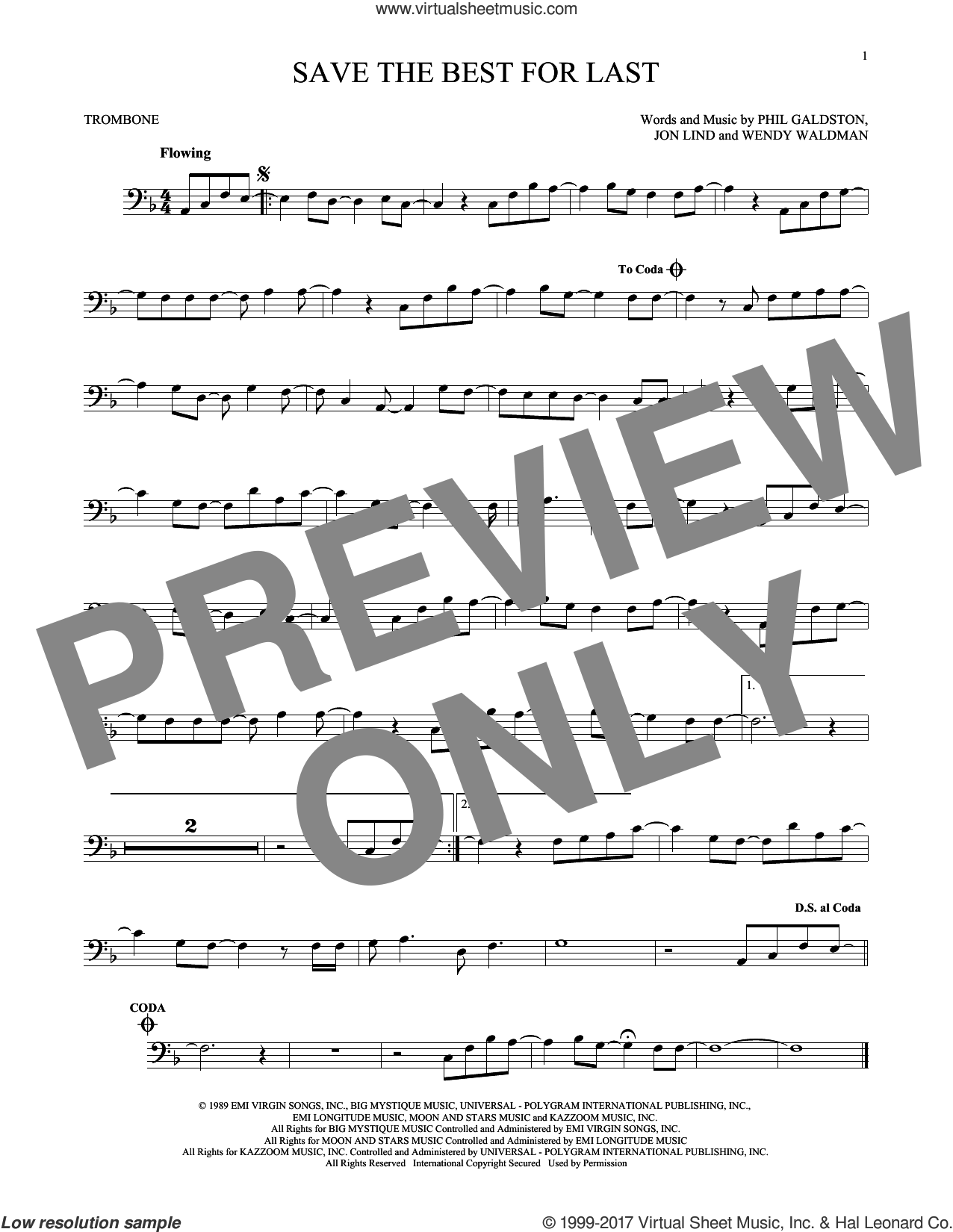 Save The Best For Last sheet music for trombone solo by Vanessa Williams, Jon Lind and Wendy Waldman, intermediate trombone. Score Image Preview.