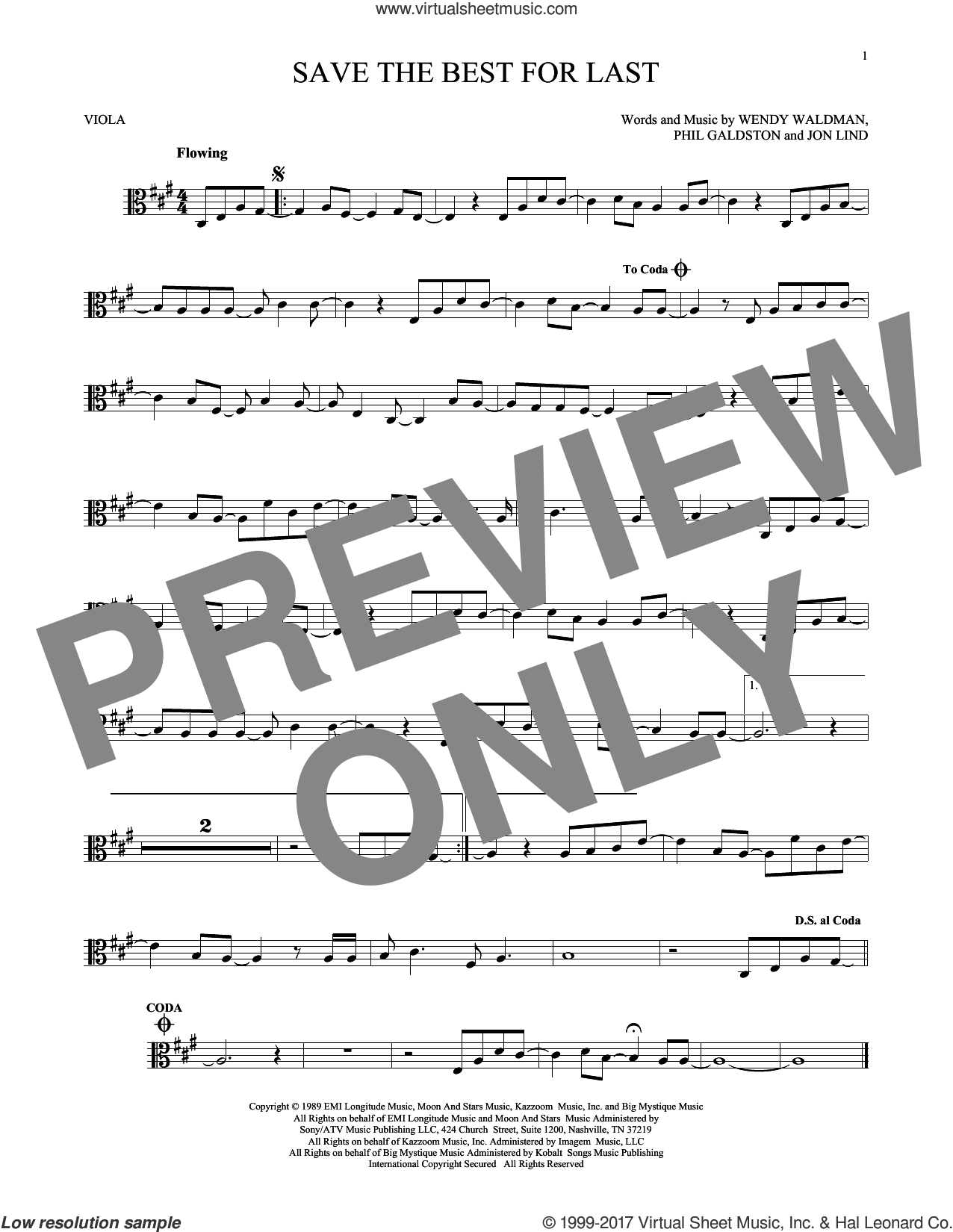Save The Best For Last sheet music for viola solo by Wendy Waldman, Vanessa Williams and Jon Lind. Score Image Preview.