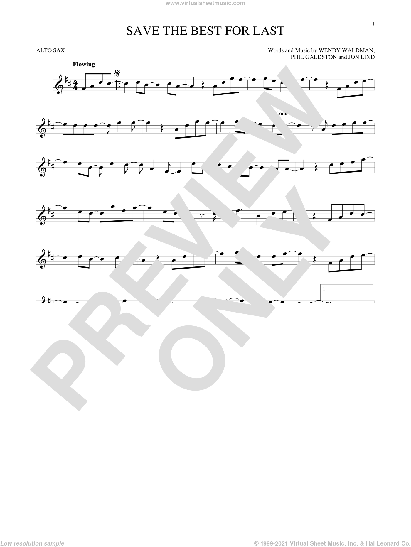 Save The Best For Last sheet music for alto saxophone solo by Vanessa Williams, Jon Lind, Phil Galdston and Wendy Waldman, intermediate skill level