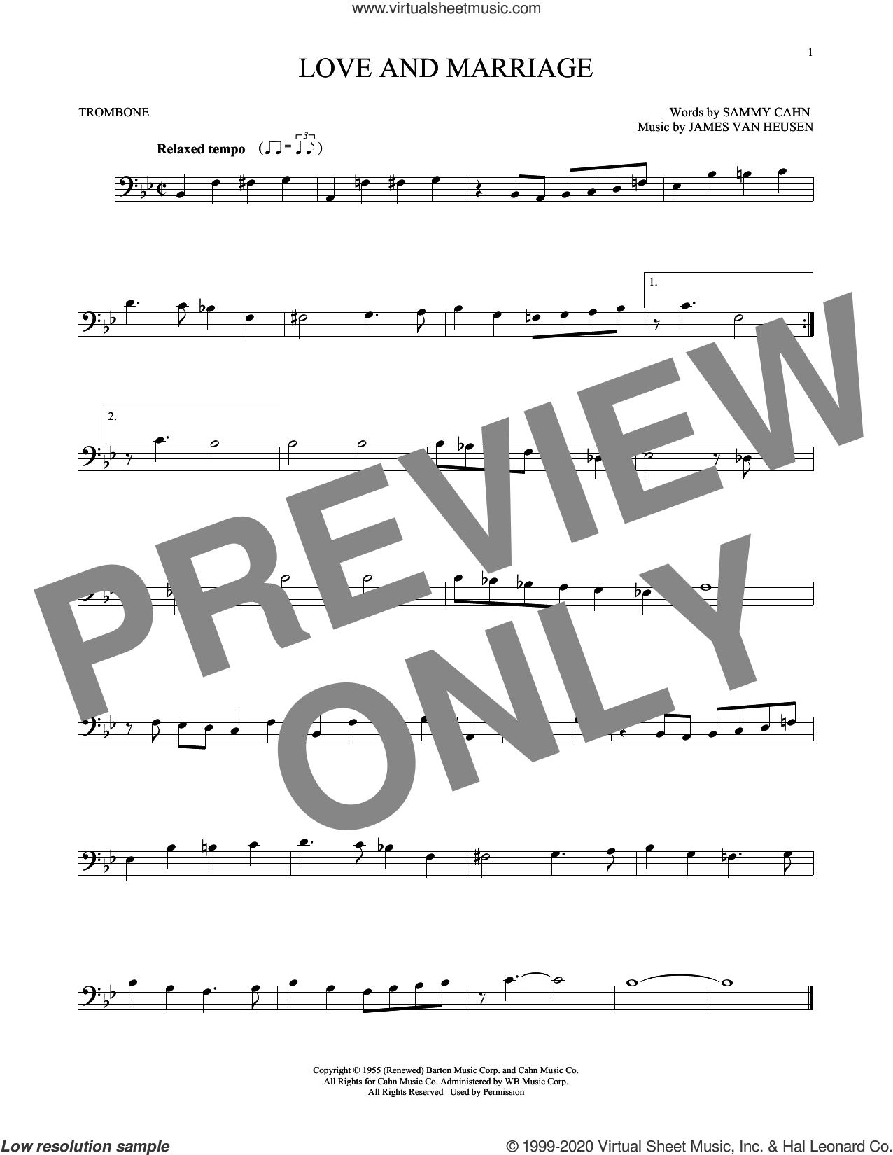 Love And Marriage sheet music for trombone solo by Sammy Cahn and Jimmy van Heusen, intermediate skill level