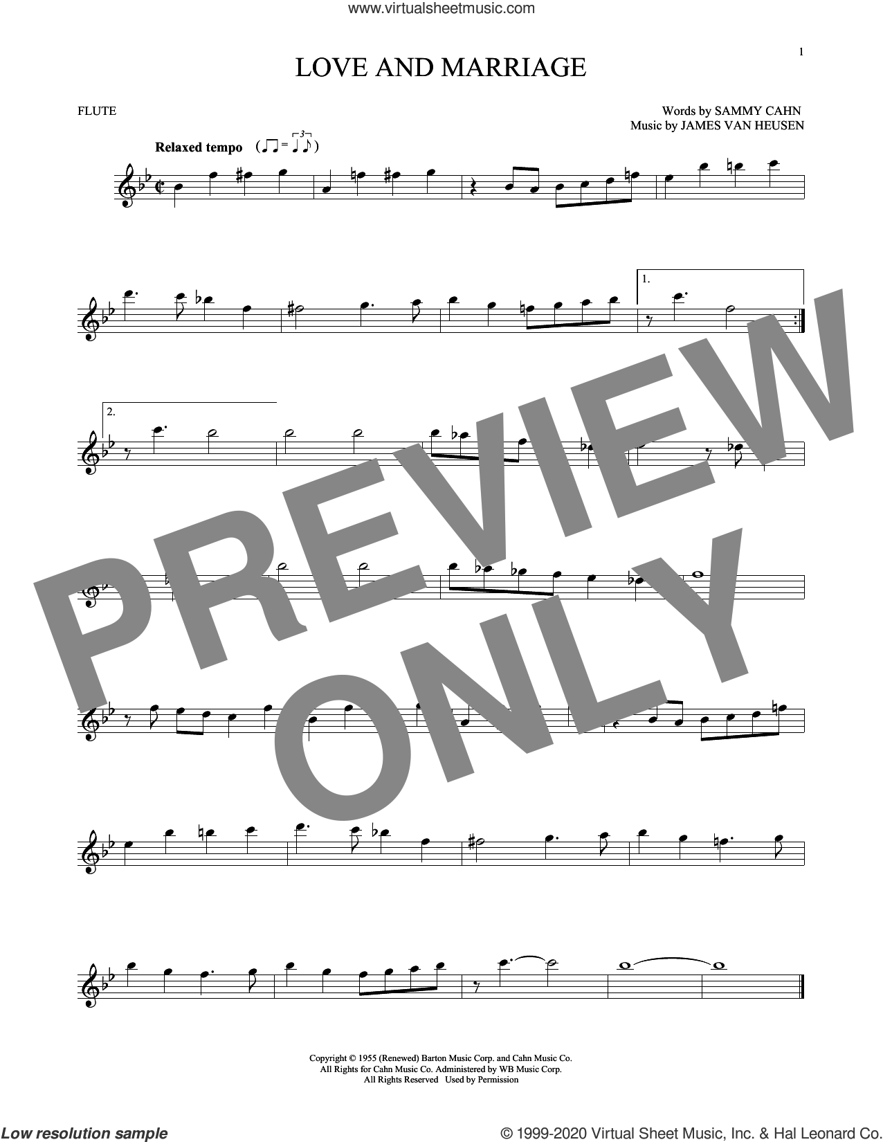 Love And Marriage sheet music for flute solo by Sammy Cahn and Jimmy van Heusen, intermediate skill level