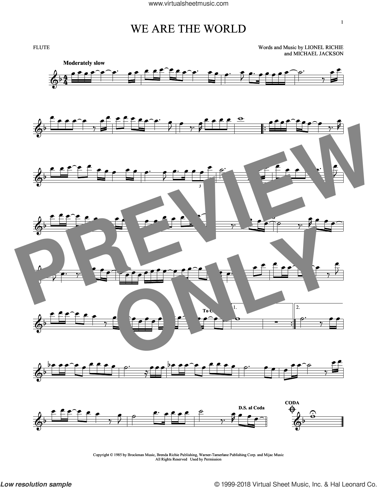 We Are The World sheet music for flute solo by Michael Jackson, USA For Africa, Lionel Richie and Lionel Richie & Michael Jackson, intermediate skill level