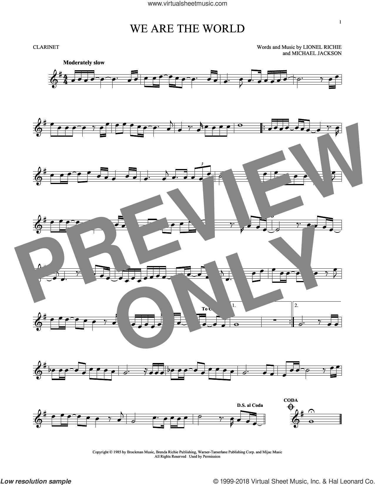 We Are The World sheet music for clarinet solo by Michael Jackson, USA For Africa, Lionel Richie and Lionel Richie & Michael Jackson, intermediate skill level