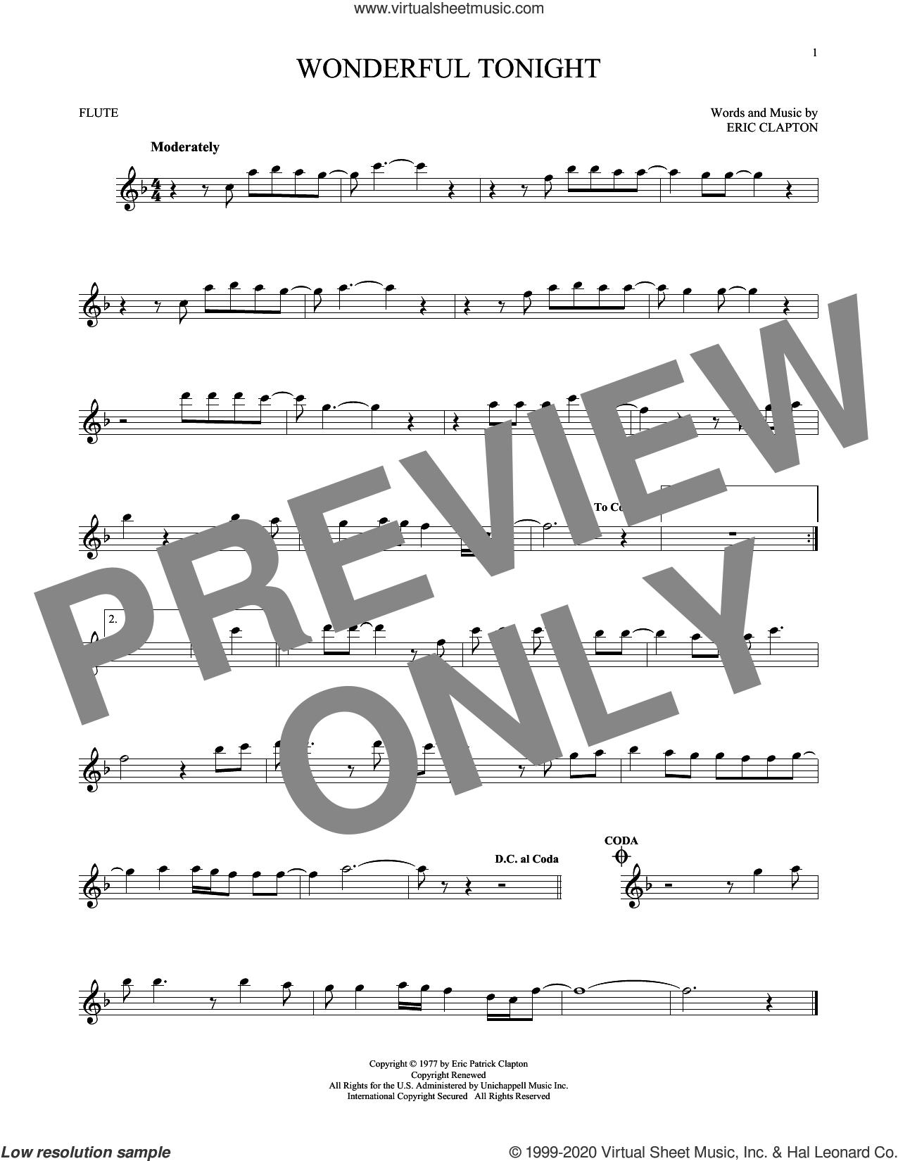 Wonderful Tonight sheet music for flute solo by Eric Clapton and David Kersh, wedding score, intermediate skill level