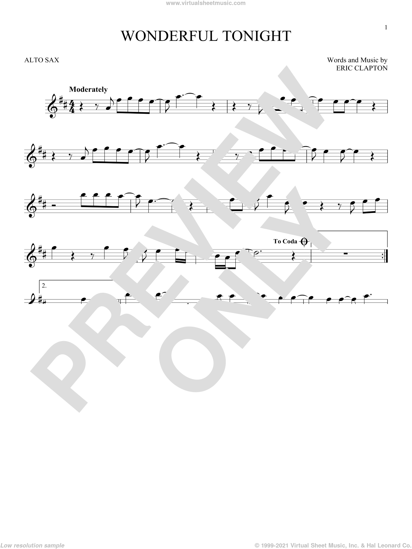 Wonderful Tonight sheet music for alto saxophone solo by Eric Clapton and David Kersh, wedding score, intermediate skill level