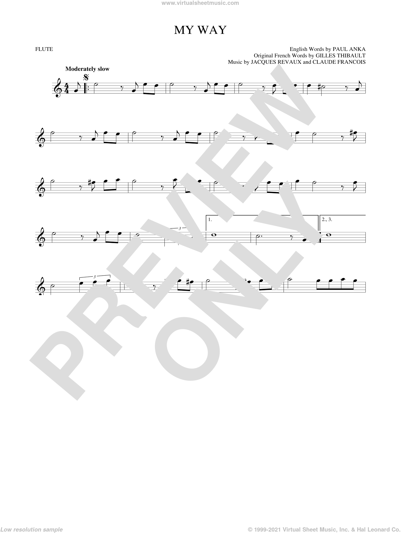 My Way sheet music for flute solo by Frank Sinatra, Elvis Presley, Claude Francois, Gilles Thibault, Jacques Revaux and Paul Anka, intermediate skill level