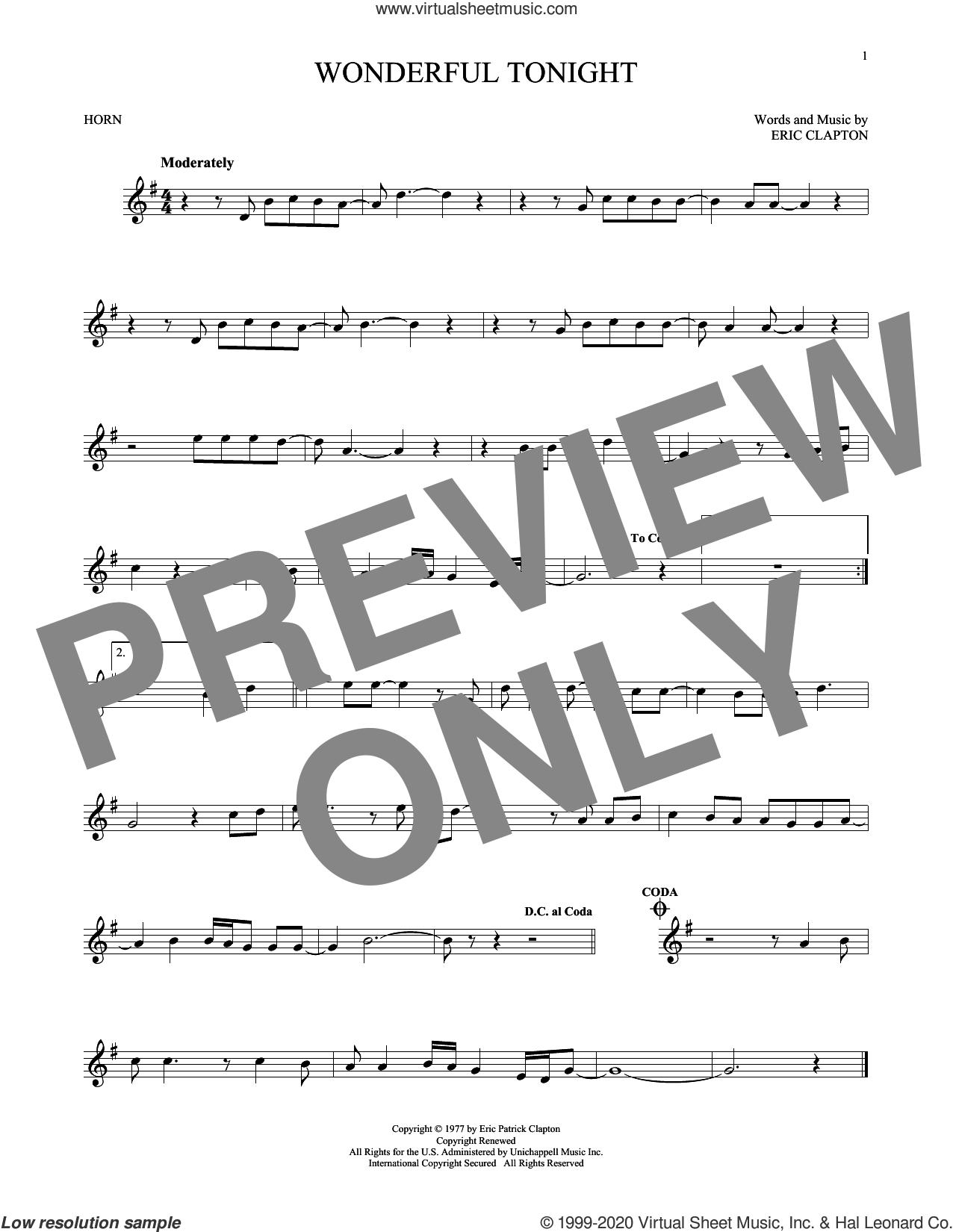 Wonderful Tonight sheet music for horn solo by Eric Clapton and David Kersh, wedding score, intermediate skill level