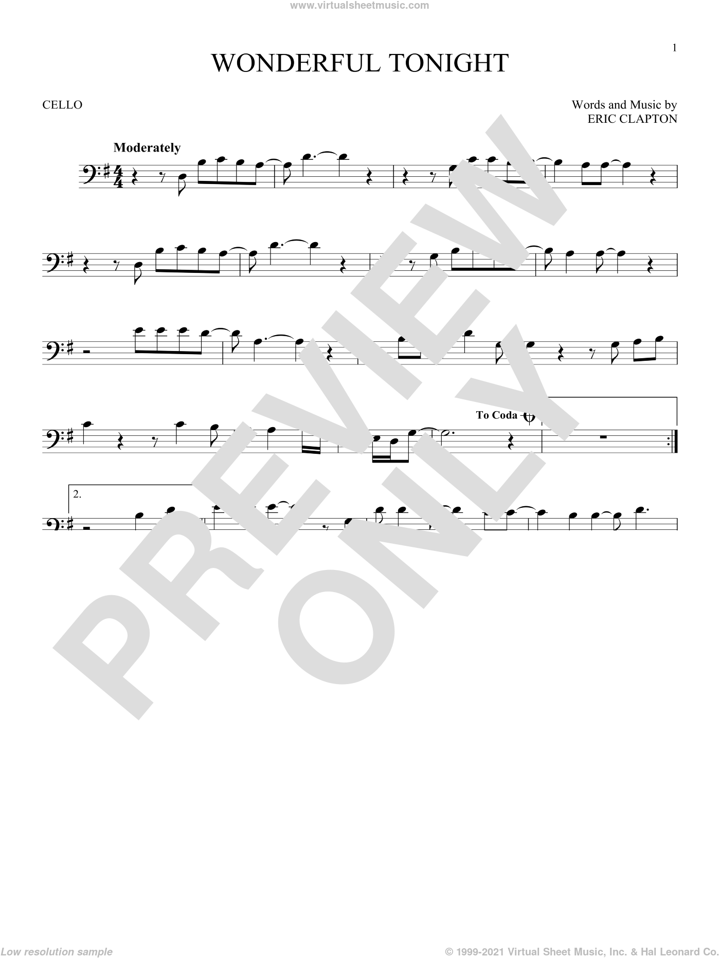 Wonderful Tonight sheet music for cello solo by Eric Clapton and David Kersh, wedding score, intermediate skill level