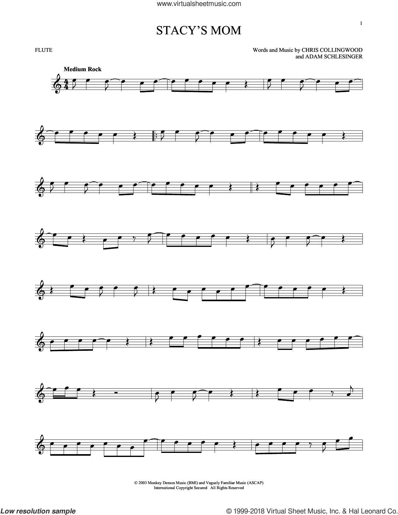 Stacy's Mom sheet music for flute solo by Fountains Of Wayne, Adam Schlesinger and Chris Collingwood, intermediate skill level