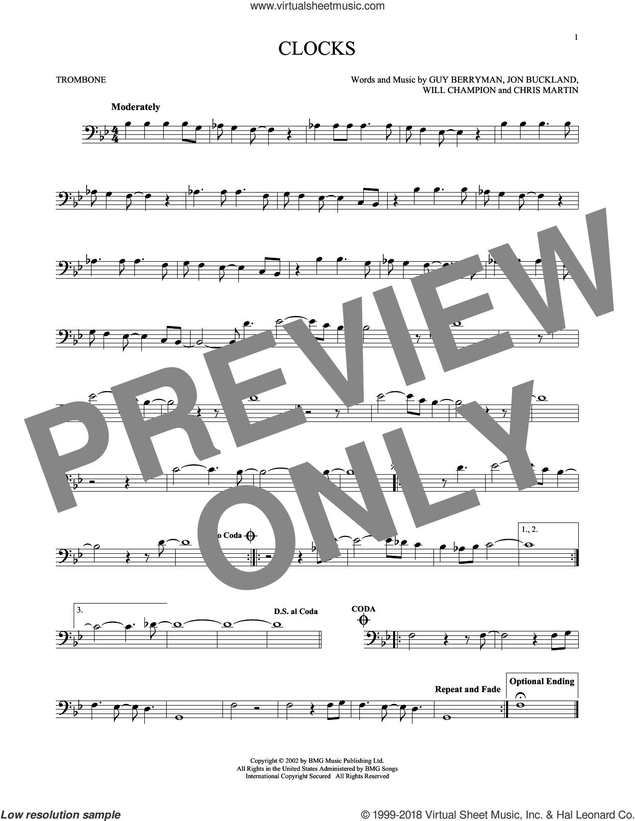 Clocks sheet music for trombone solo by Chris Martin, Coldplay, Guy Berryman, Jon Buckland and Will Champion, intermediate skill level