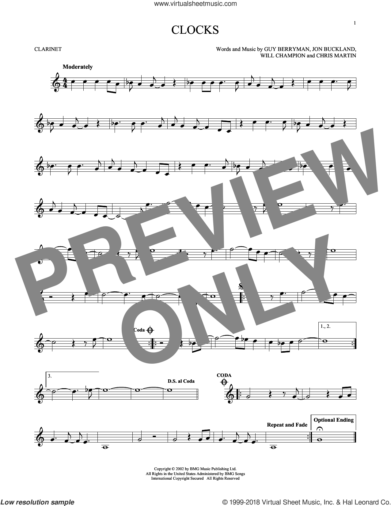 Clocks sheet music for clarinet solo by Coldplay, Chris Martin, Guy Berryman, Jon Buckland and Will Champion, intermediate. Score Image Preview.