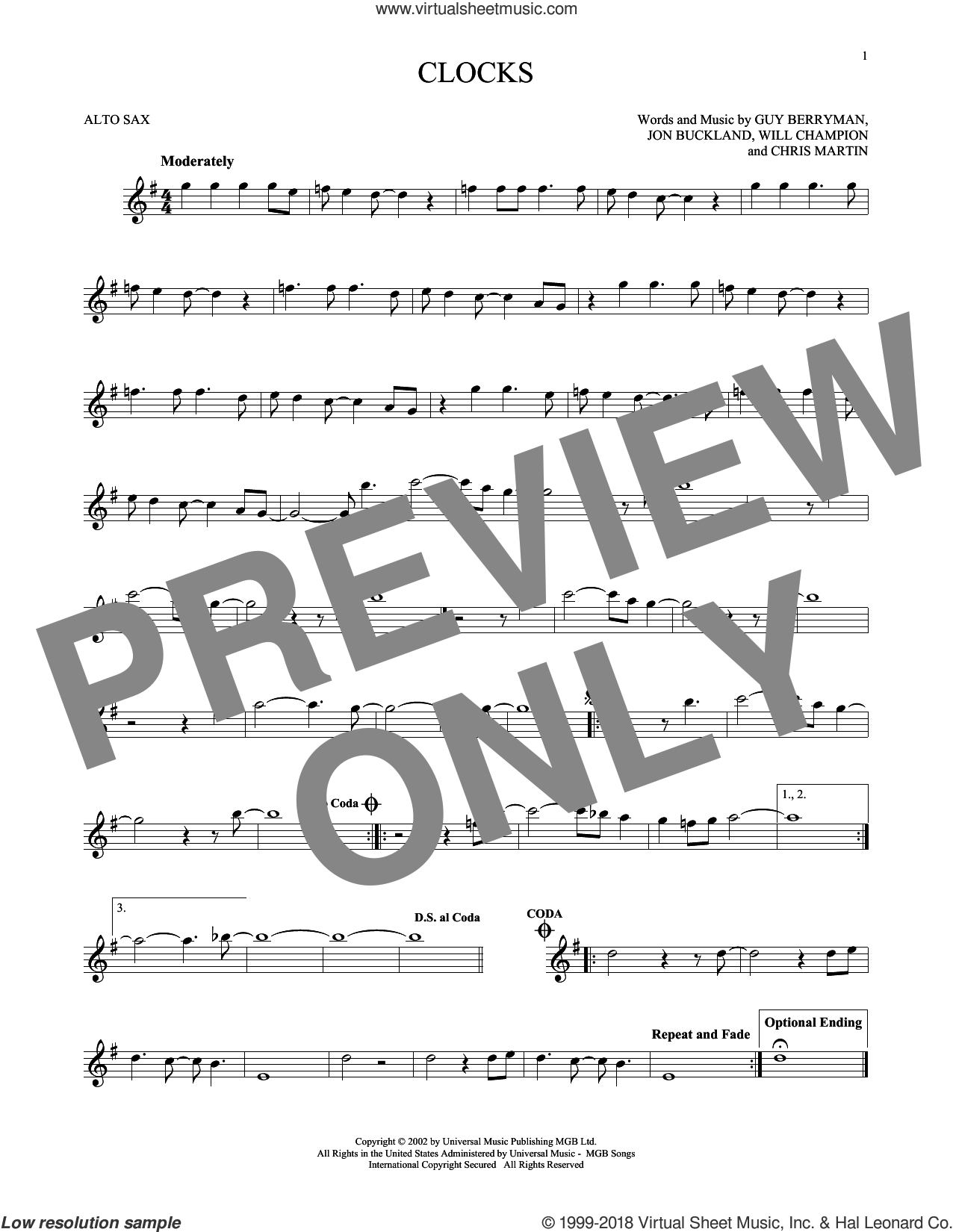 Clocks sheet music for alto saxophone solo by Coldplay, Chris Martin, Guy Berryman, Jon Buckland and Will Champion, intermediate. Score Image Preview.