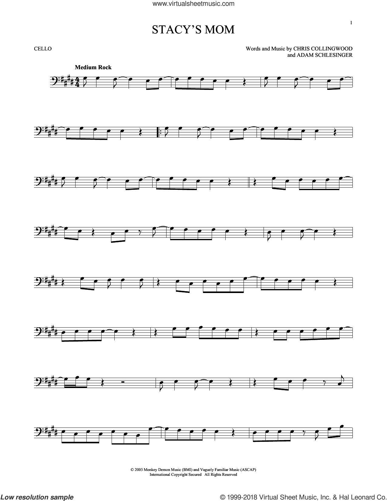 Stacy's Mom sheet music for cello solo by Fountains Of Wayne, Adam Schlesinger and Chris Collingwood, intermediate skill level