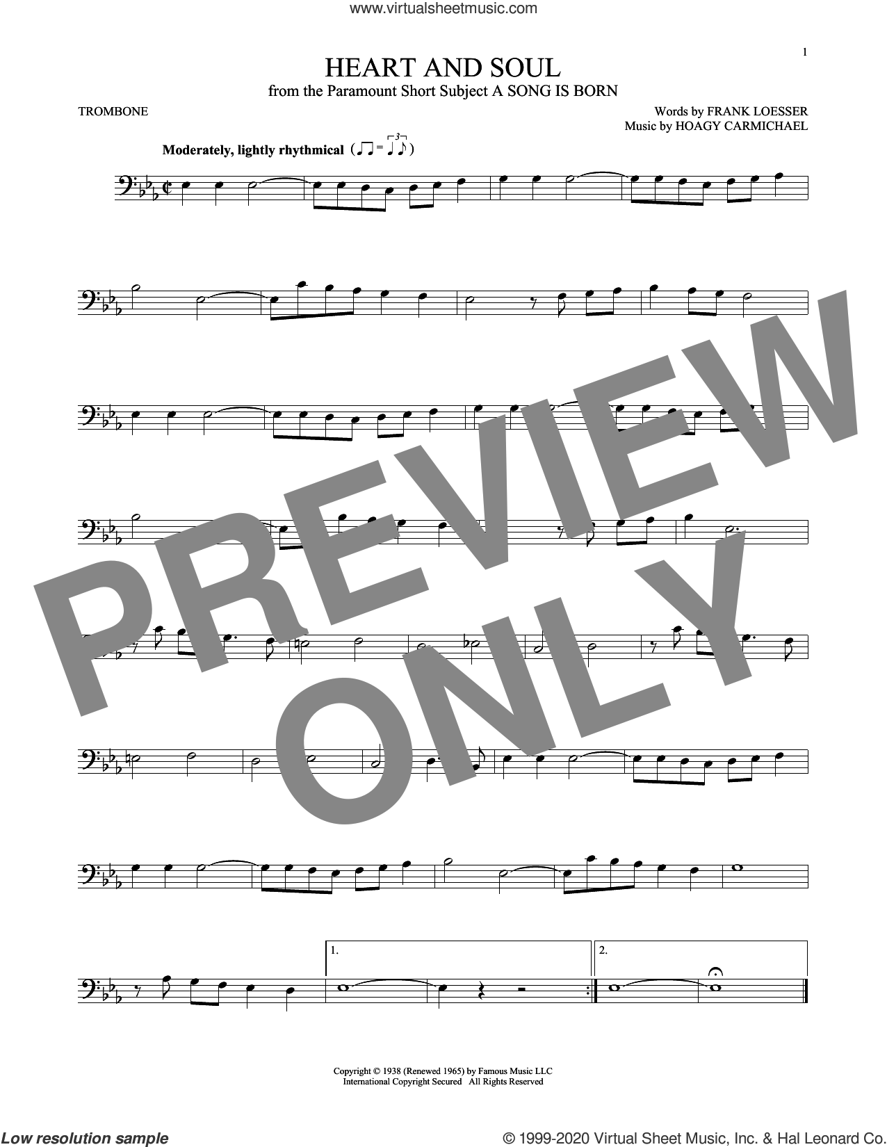 Heart And Soul sheet music for trombone solo by Frank Loesser and Hoagy Carmichael, intermediate skill level