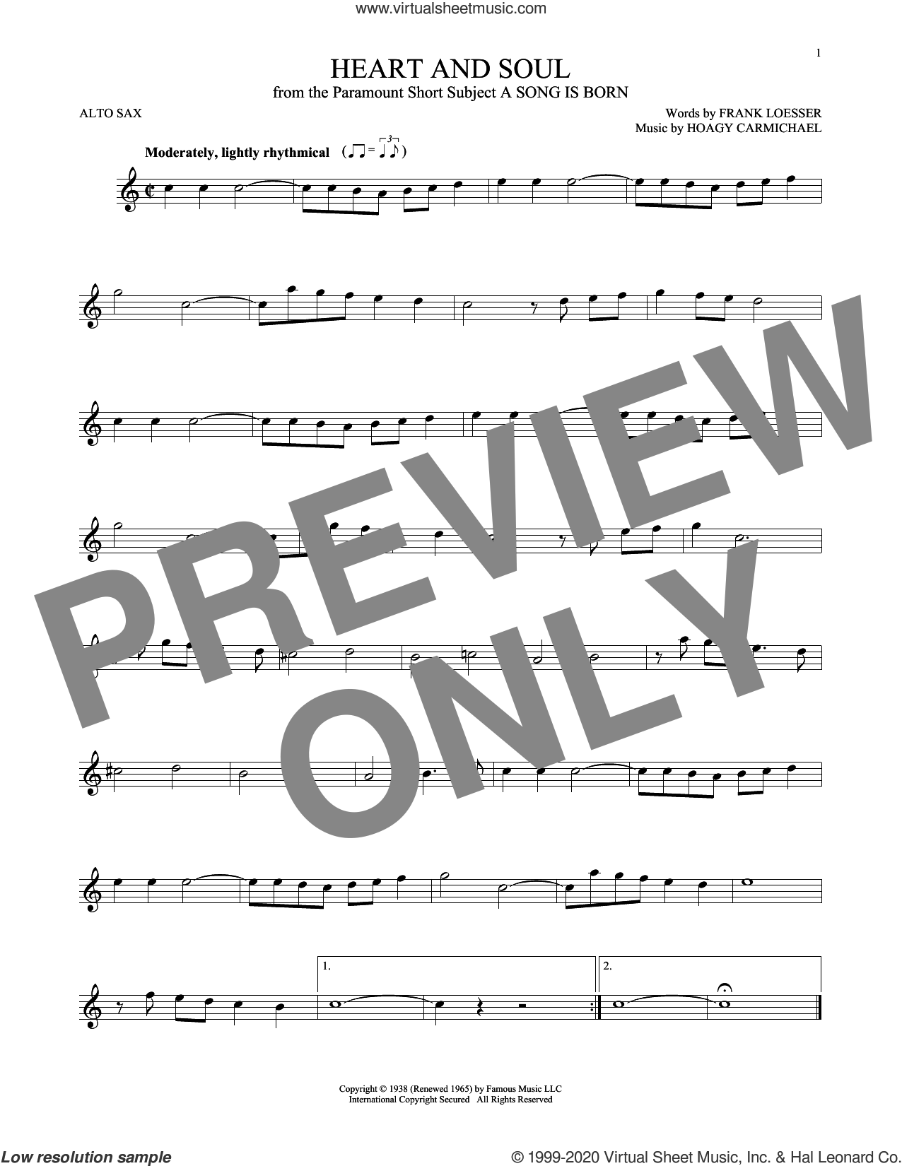 Heart And Soul sheet music for alto saxophone solo by Frank Loesser and Hoagy Carmichael, intermediate skill level
