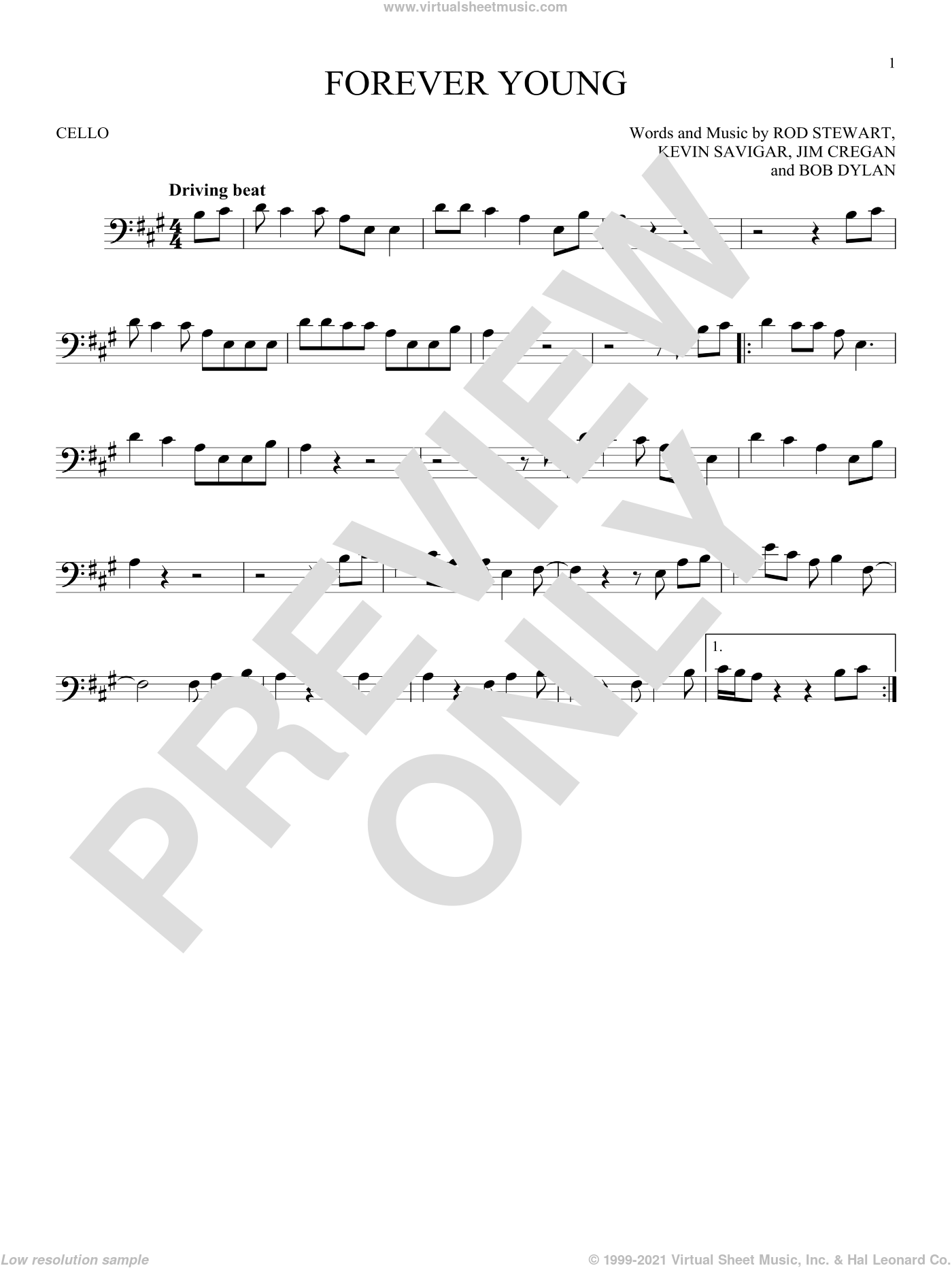 Forever Young sheet music for cello solo by Rod Stewart, Bob Dylan, Jim Cregan and Kevin Savigar, intermediate skill level