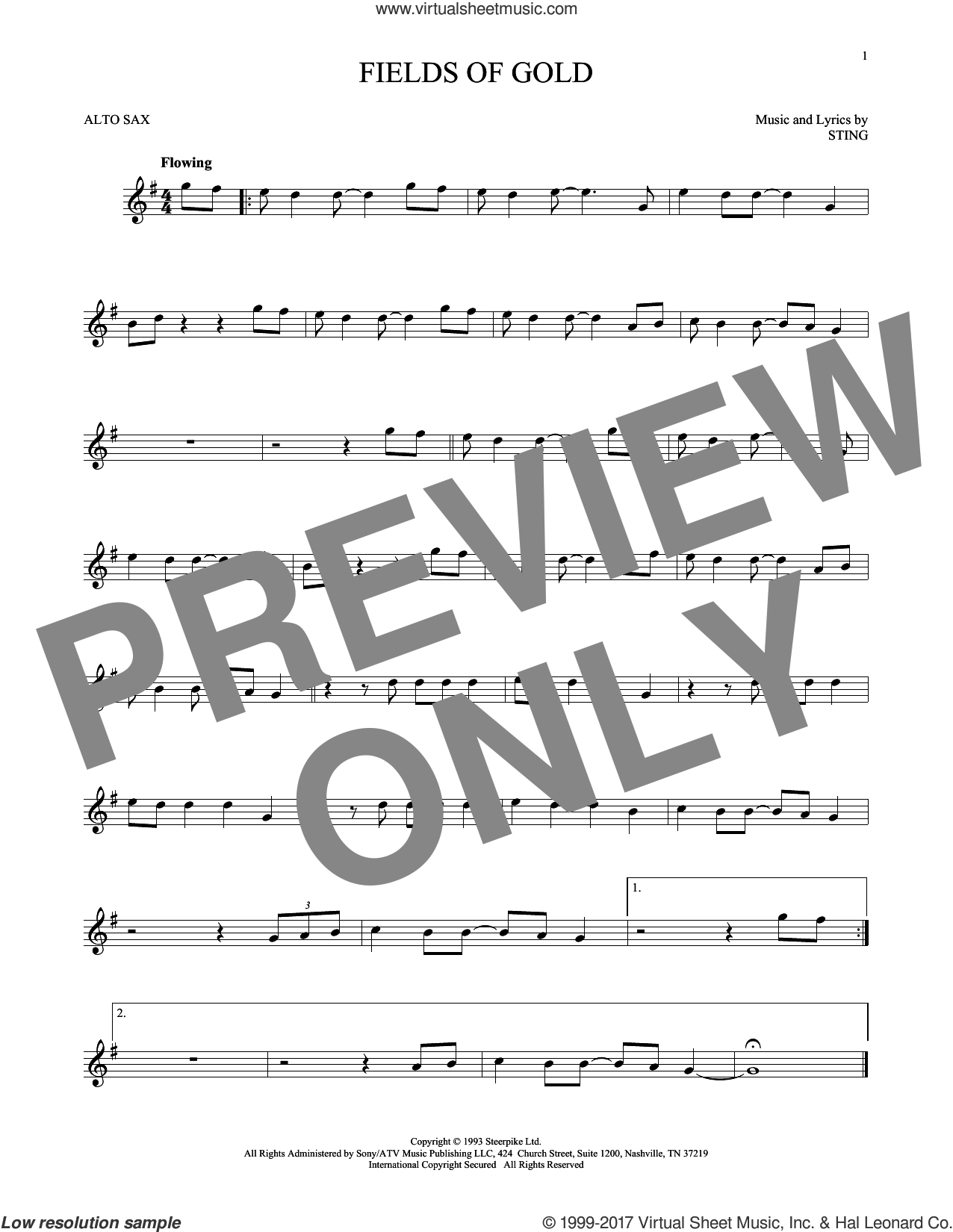 Fields Of Gold sheet music for alto saxophone solo by Sting, intermediate skill level