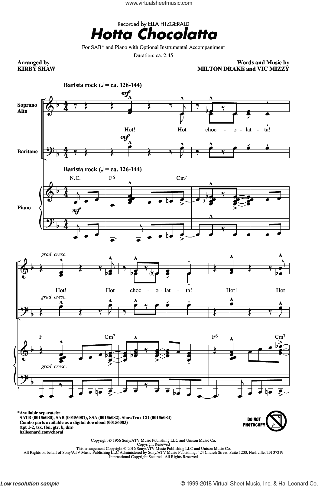 Hotta Chocolatta sheet music for choir (SAB) by Milton Drake, Kirby Shaw and Ella Fitzgerald. Score Image Preview.