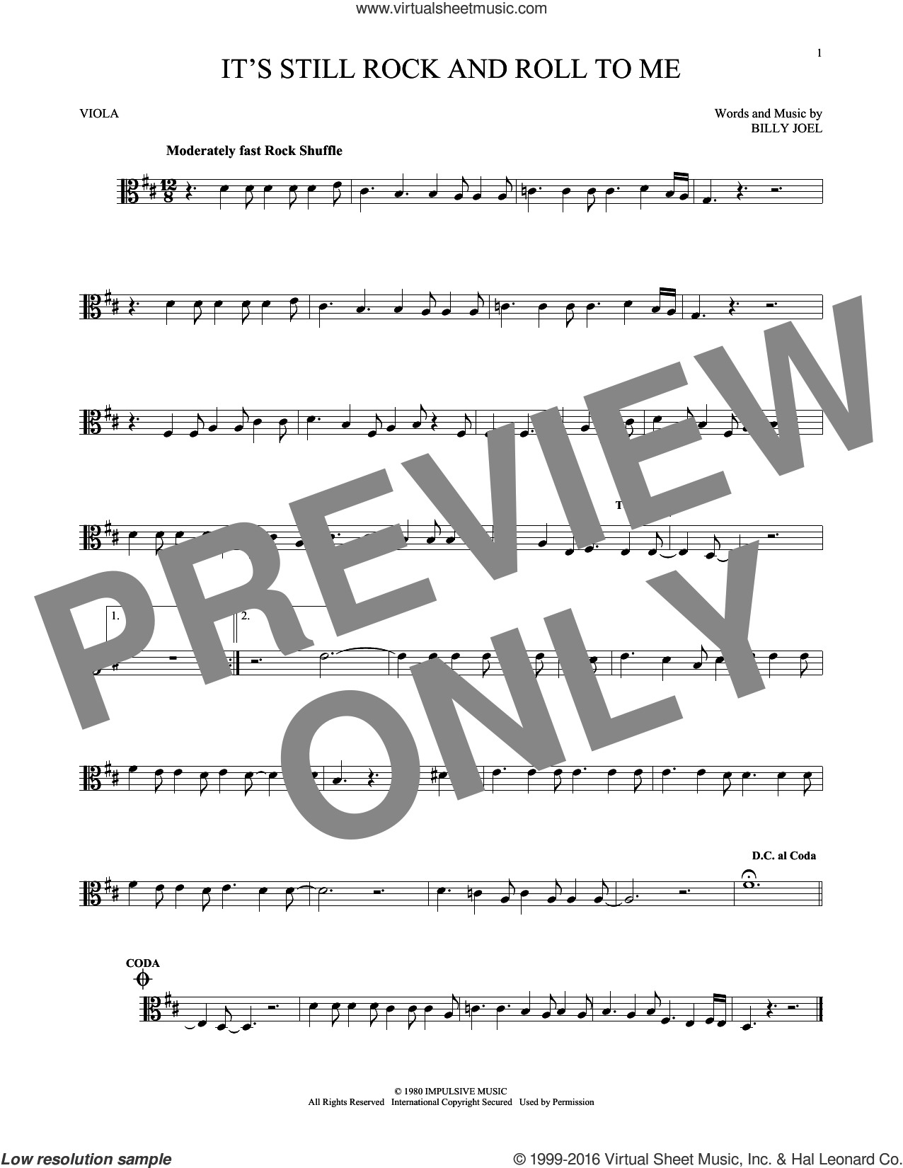It's Still Rock And Roll To Me sheet music for viola solo by Billy Joel, intermediate skill level