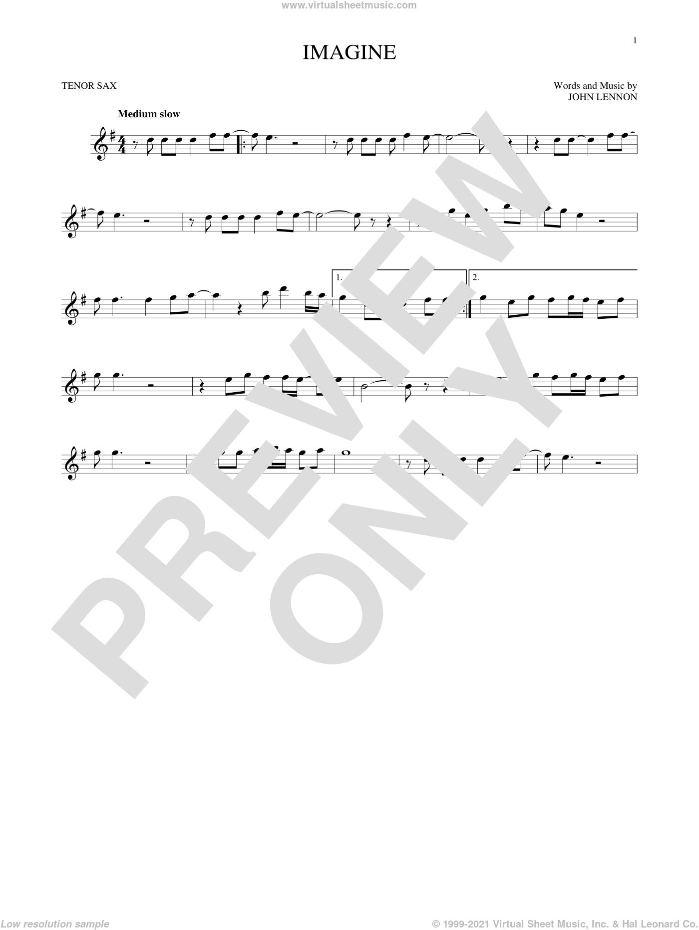 Imagine sheet music for tenor saxophone solo by John Lennon, intermediate skill level