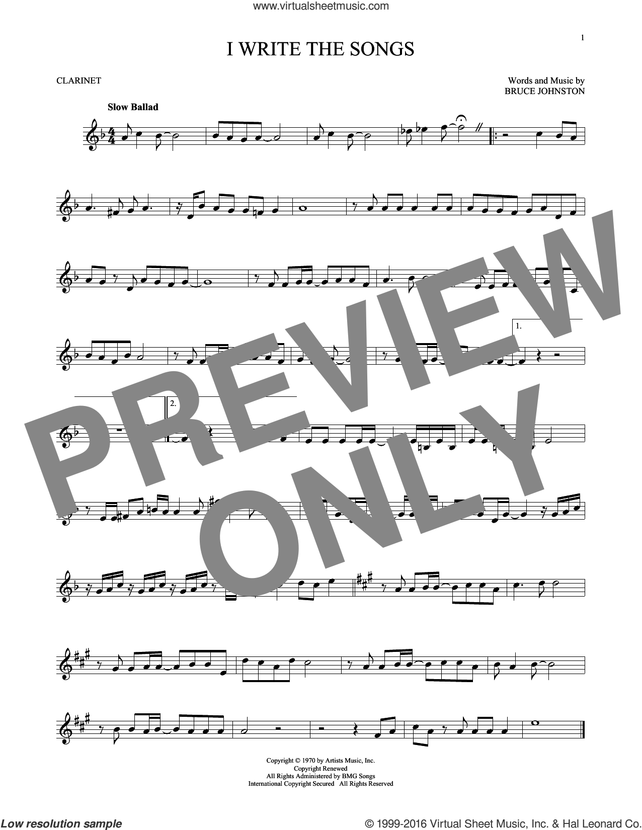 I Write The Songs sheet music for clarinet solo by Bruce Johnston and Barry Manilow. Score Image Preview.