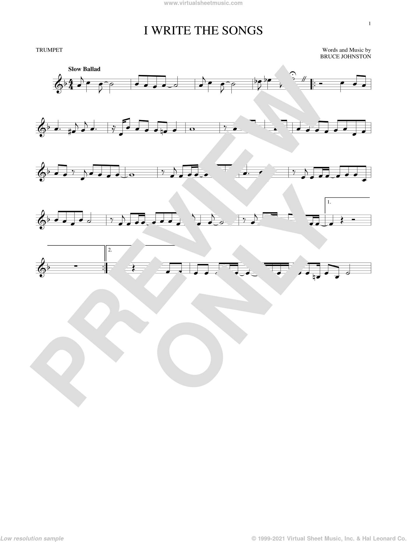 I Write The Songs sheet music for trumpet solo by Bruce Johnston and Barry Manilow. Score Image Preview.