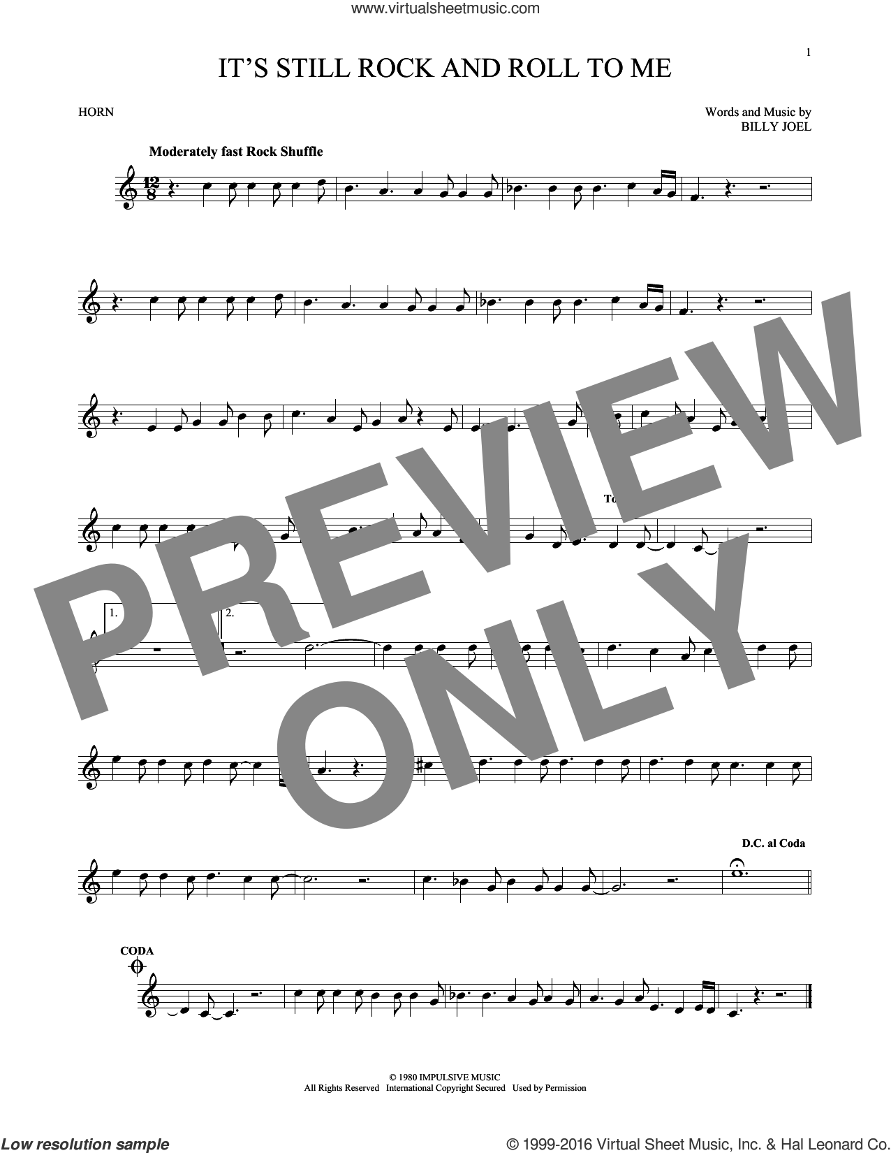 It's Still Rock And Roll To Me sheet music for horn solo by Billy Joel, intermediate. Score Image Preview.