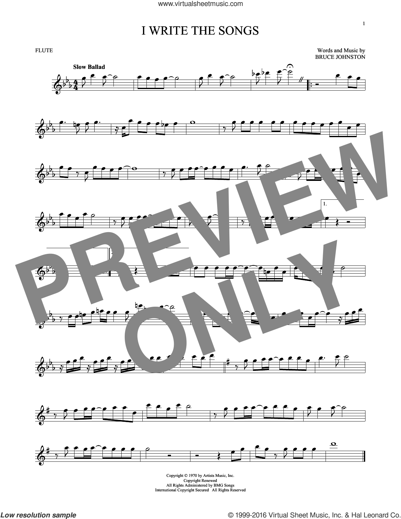 I Write The Songs sheet music for flute solo by Barry Manilow and Bruce Johnston, intermediate skill level