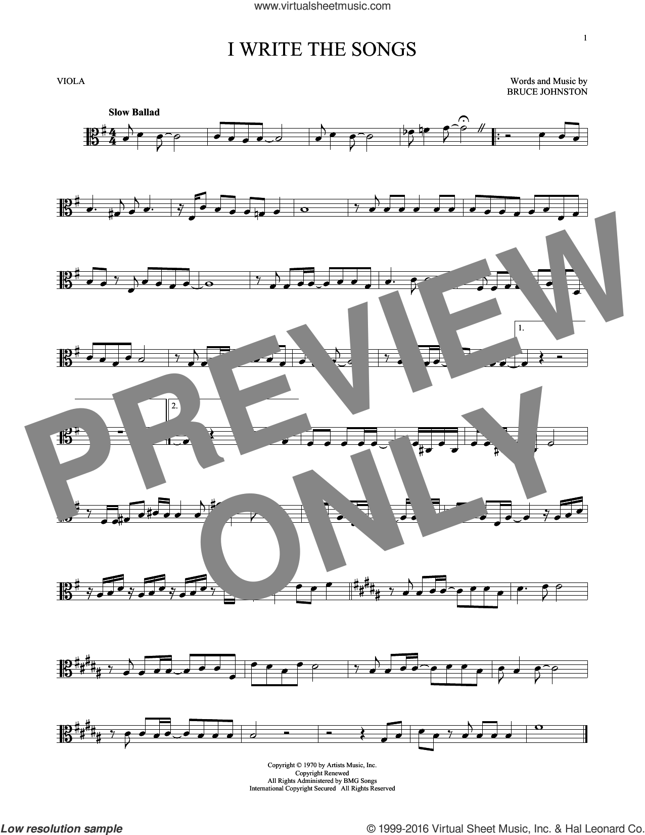 I Write The Songs sheet music for viola solo by Barry Manilow and Bruce Johnston, intermediate skill level
