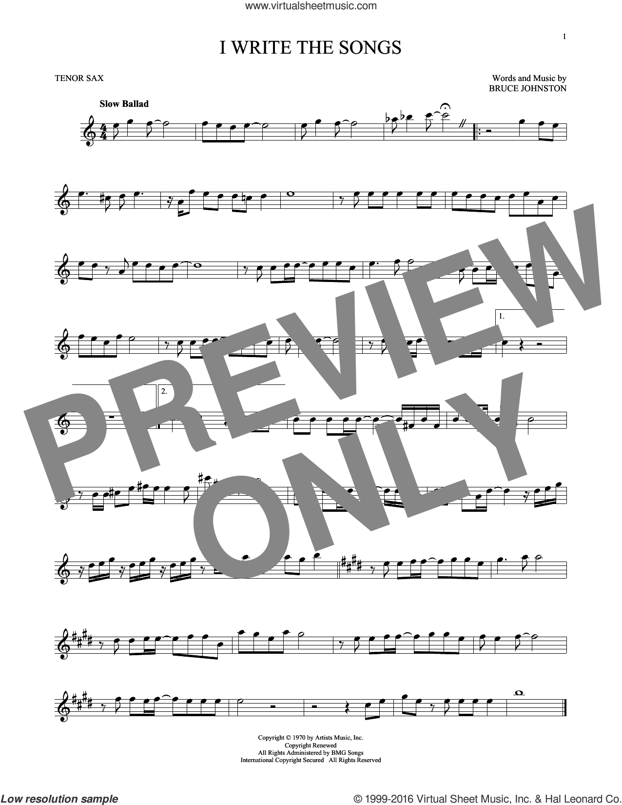 I Write The Songs sheet music for tenor saxophone solo by Bruce Johnston and Barry Manilow. Score Image Preview.