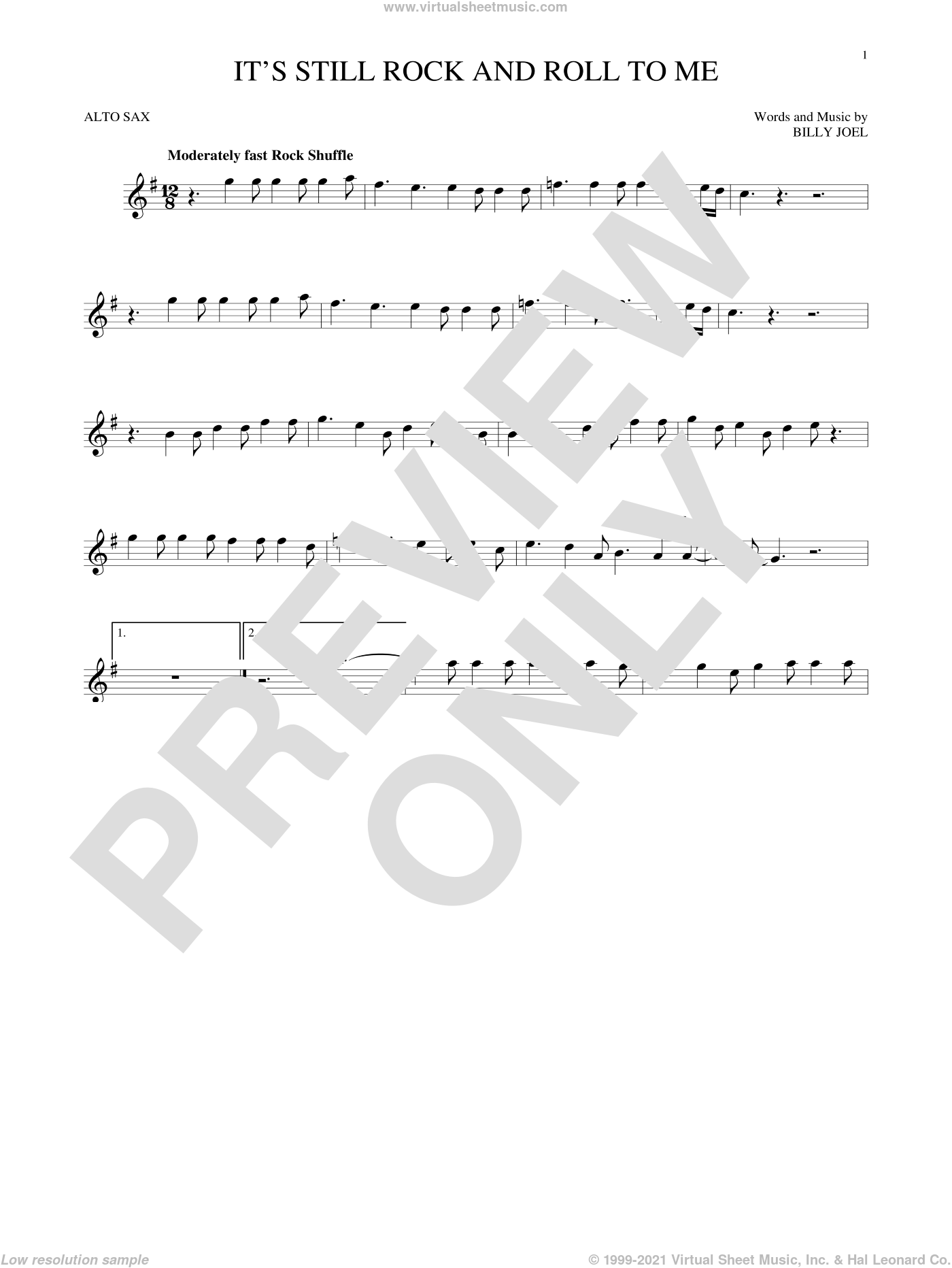 It's Still Rock And Roll To Me sheet music for alto saxophone solo by Billy Joel. Score Image Preview.