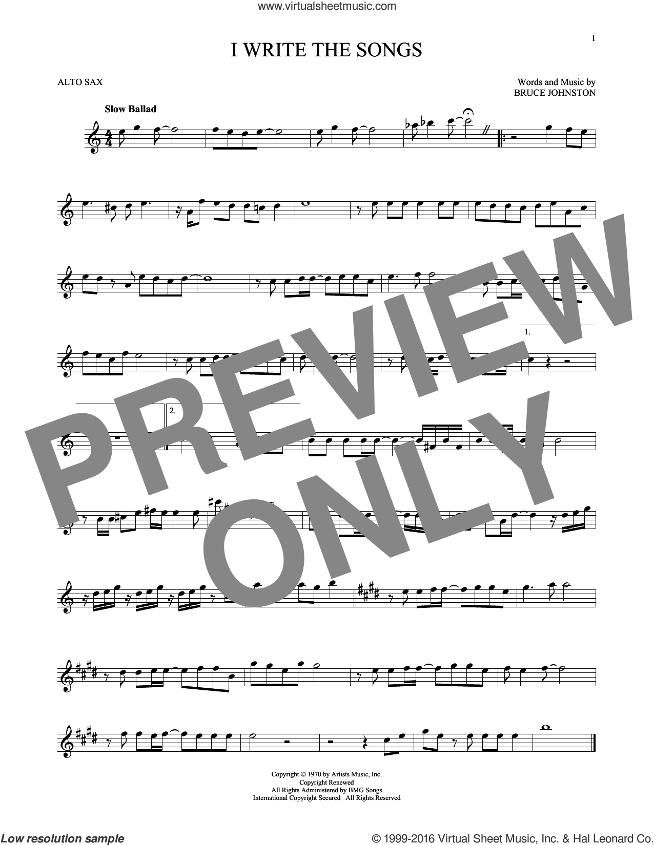 I Write The Songs sheet music for alto saxophone solo by Bruce Johnston and Barry Manilow. Score Image Preview.