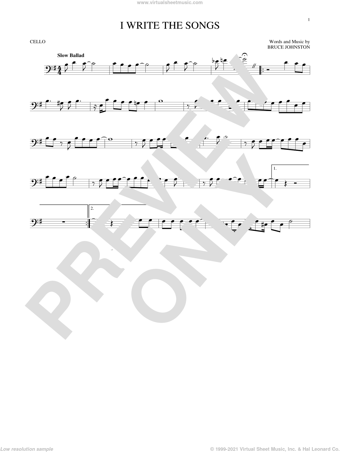 I Write The Songs sheet music for cello solo by Barry Manilow. Score Image Preview.