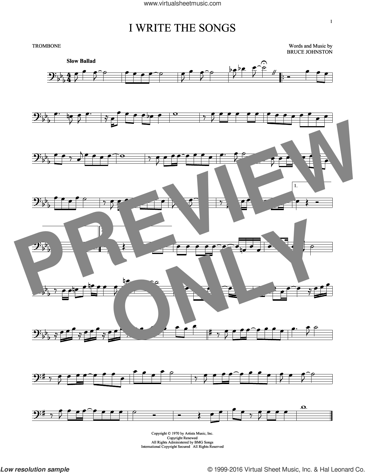 I Write The Songs sheet music for trombone solo by Bruce Johnston and Barry Manilow. Score Image Preview.