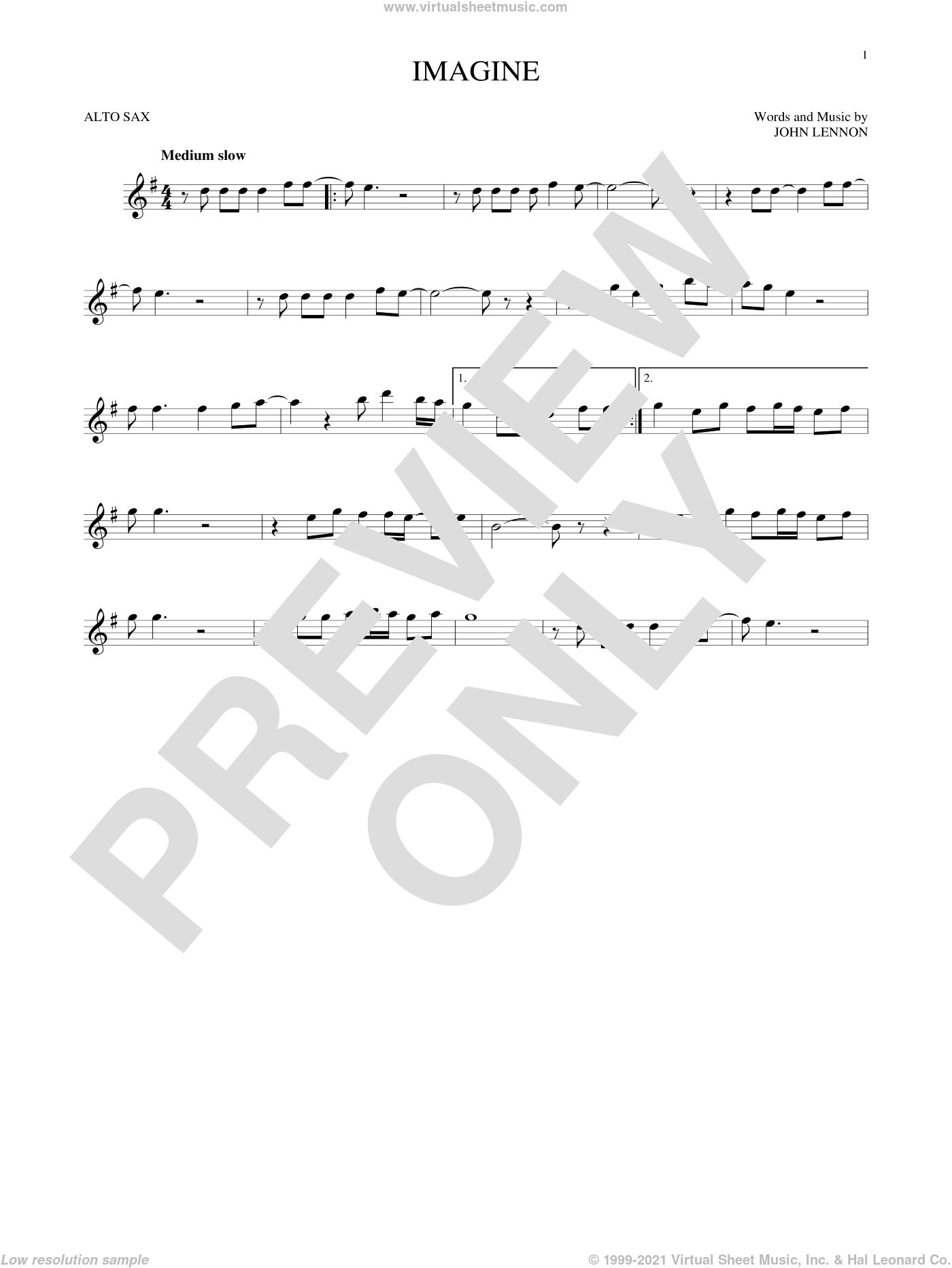 Imagine sheet music for alto saxophone solo by John Lennon, intermediate skill level