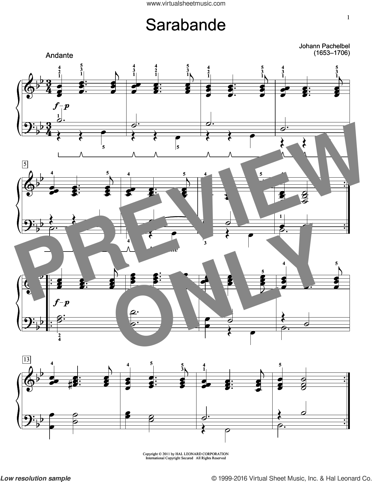 Sarabande sheet music for piano solo (elementary) by Johann Pachelbel and Jennifer Linn. Score Image Preview.