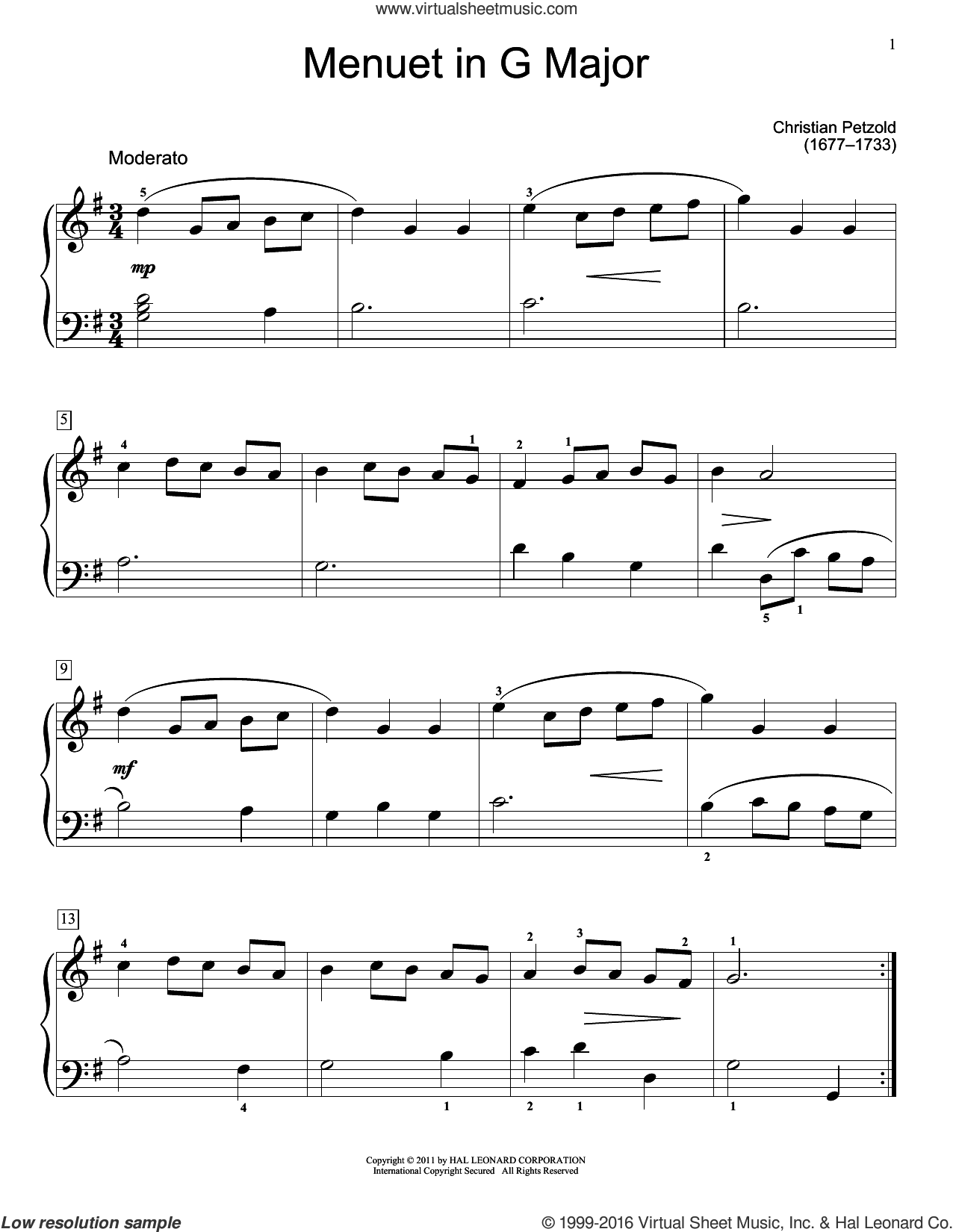 Menuet In G Major, BWV App. 114 sheet music for piano solo (elementary) by Christian Petzold, Jennifer Linn and Christos Tsitsaros (ed.), classical score, beginner piano (elementary)