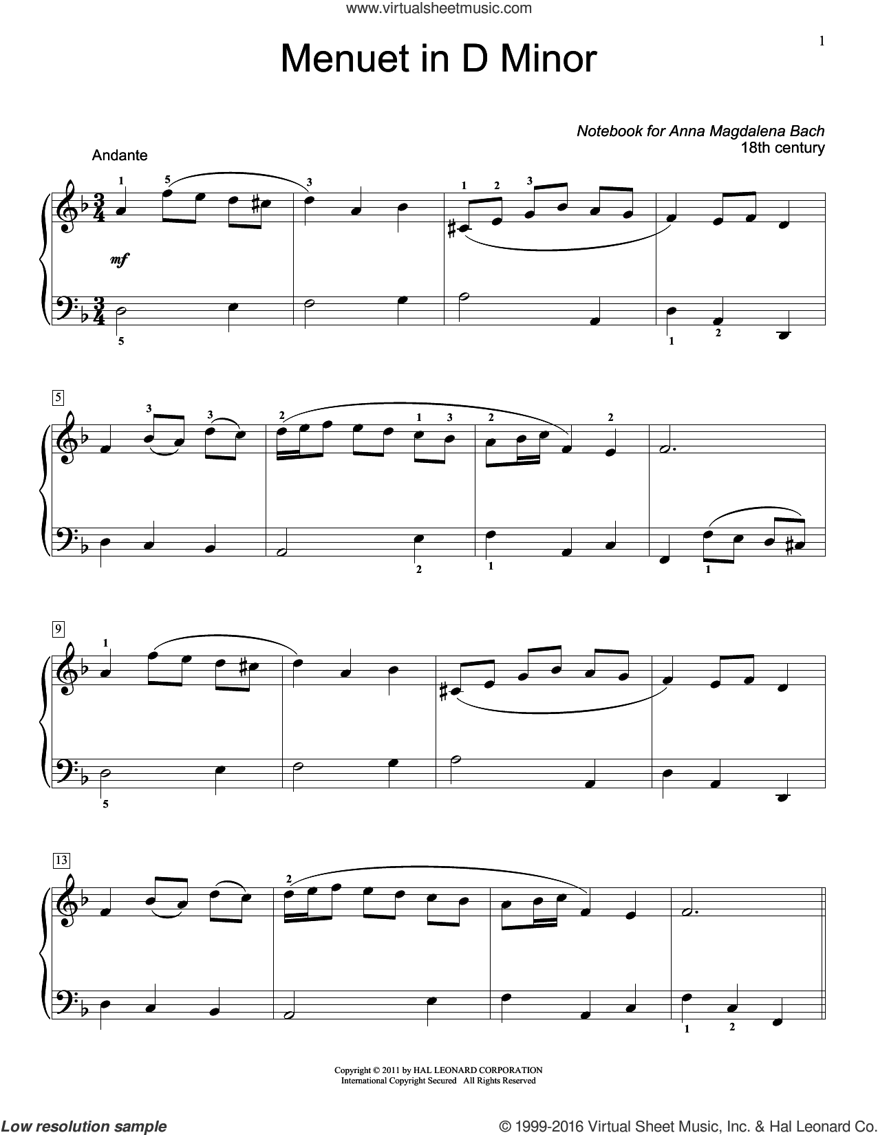 Menuet In D Minor, BWV App. 132 sheet music for piano solo (elementary) by Jennifer Linn. Score Image Preview.