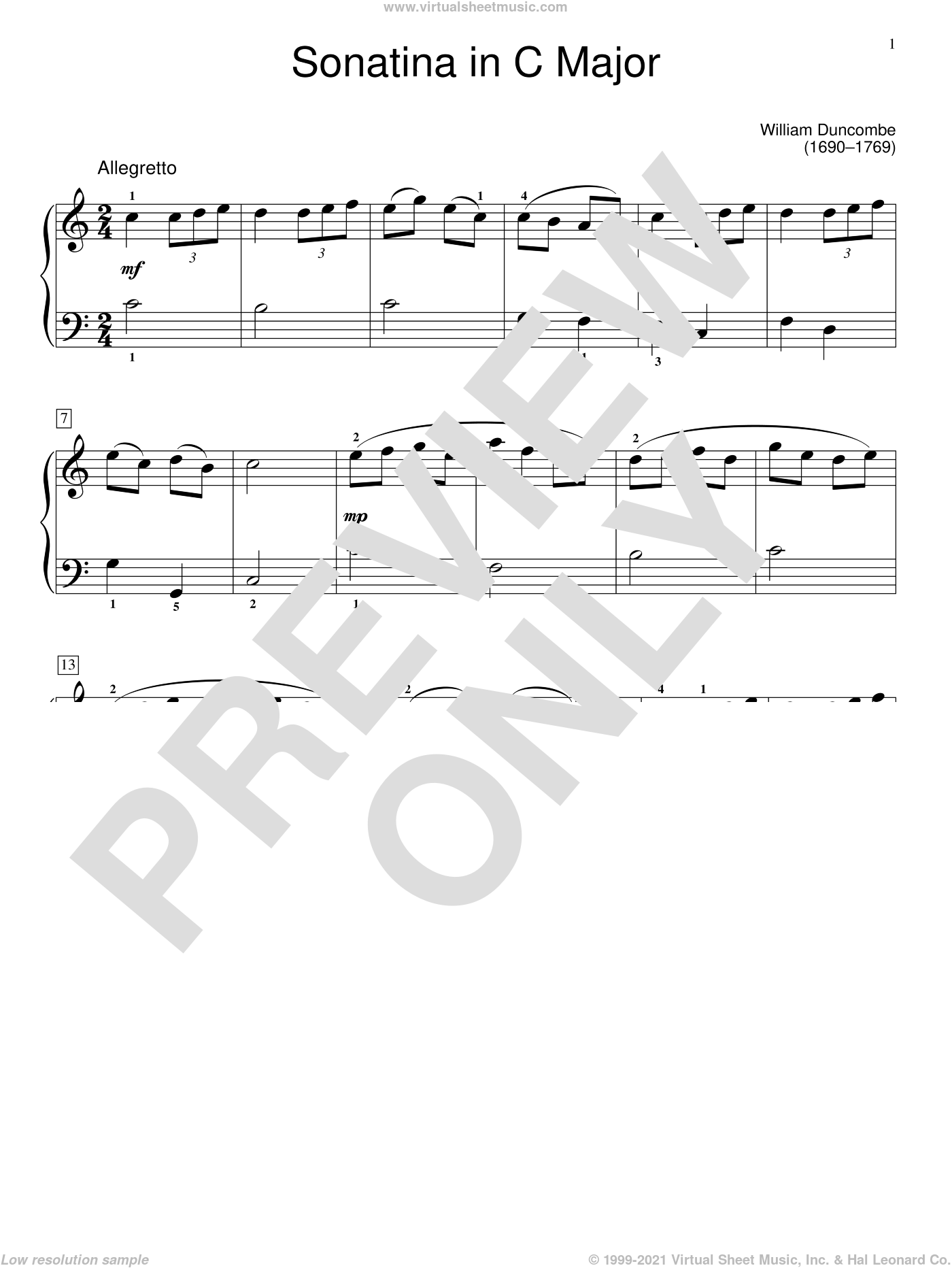 Sonatina sheet music for piano solo (elementary) by W. Duncombe and Jennifer Linn, classical score, beginner piano (elementary)