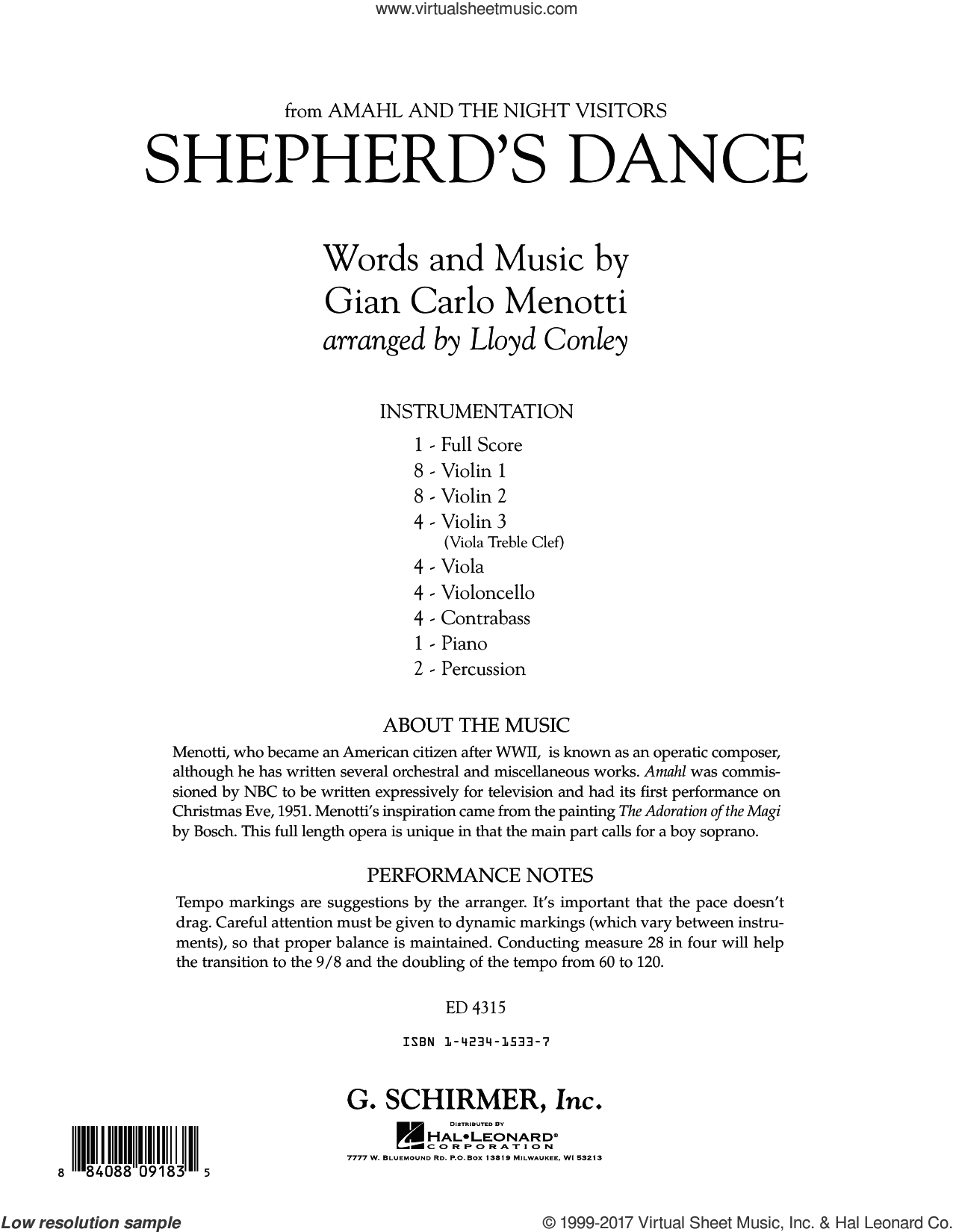 Shepherd's Dance (from Amahl and the Night Visitors) (COMPLETE) sheet music for orchestra by Lloyd Conley and Gian Carlo Menotti, classical score, intermediate skill level