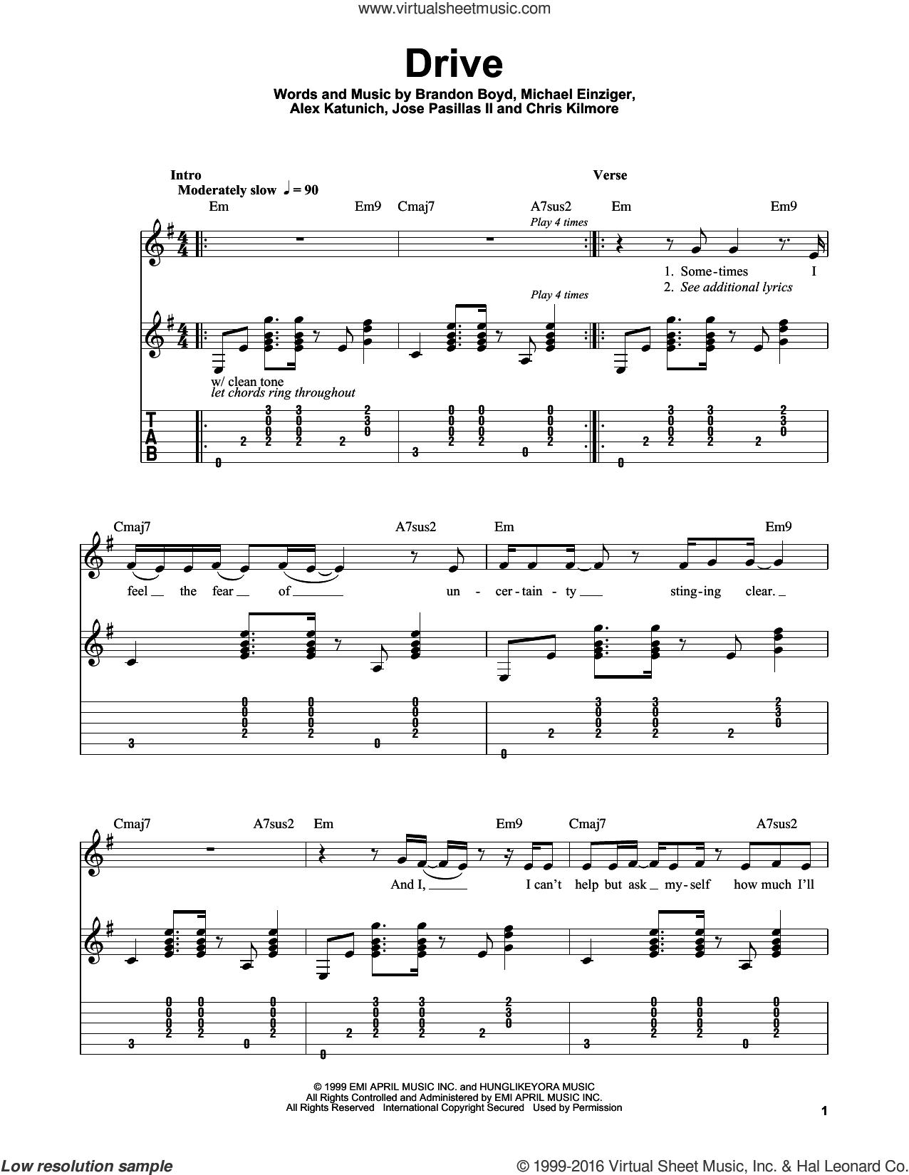 Drive sheet music for guitar solo (easy tablature) by Incubus, Alex Katunich, Brandon Boyd, Chris Kilmore, Jose Pasillas II and Michael Einziger, easy guitar (easy tablature)
