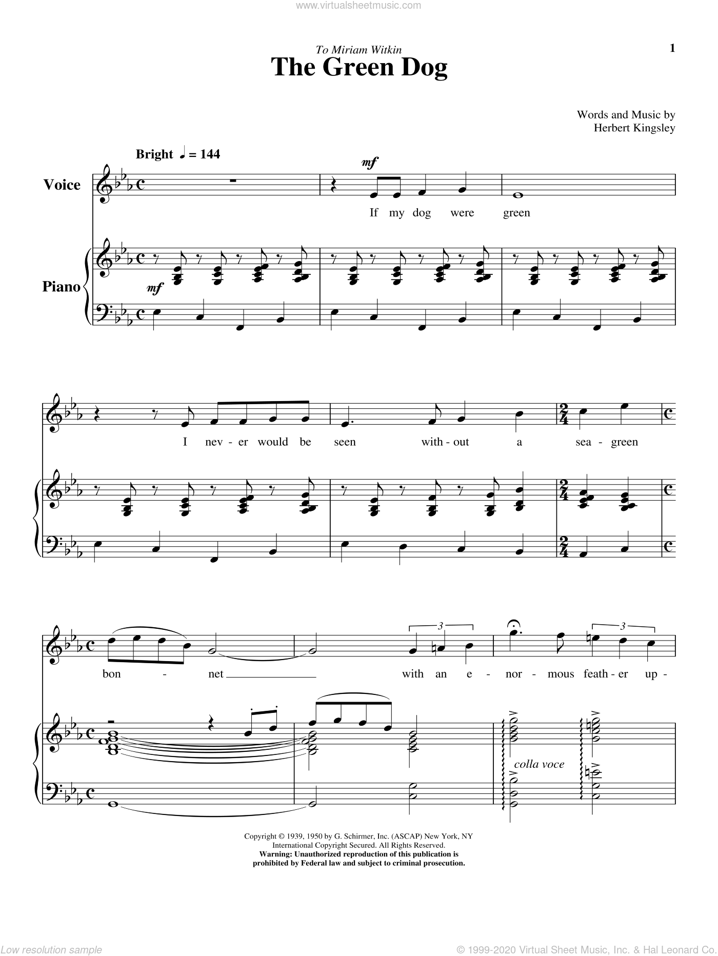 The Green Dog sheet music for voice and piano (High Voice) by Herbert Kingsley, classical score, intermediate skill level