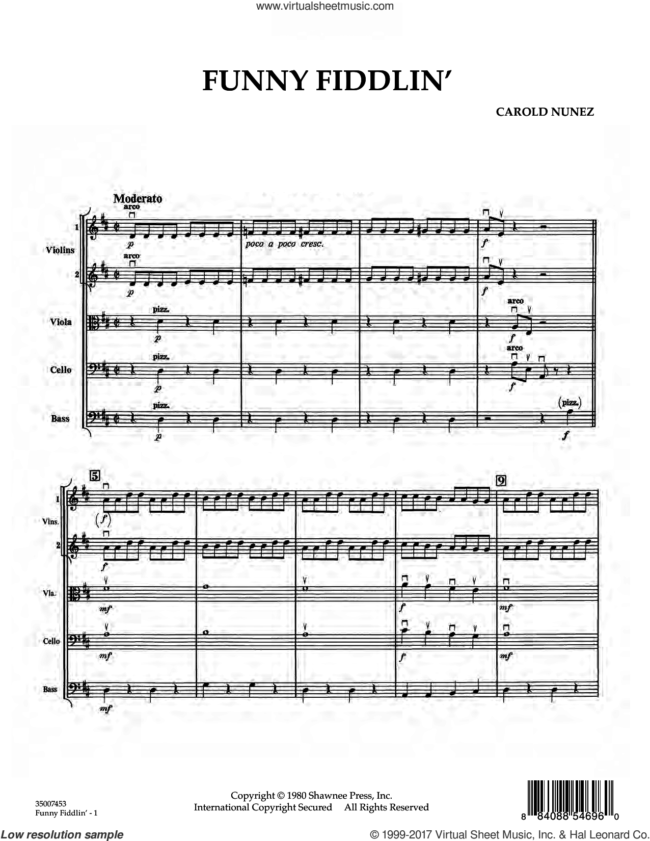 Funny Fiddlin' (COMPLETE) sheet music for orchestra by Carold Nunez, intermediate. Score Image Preview.