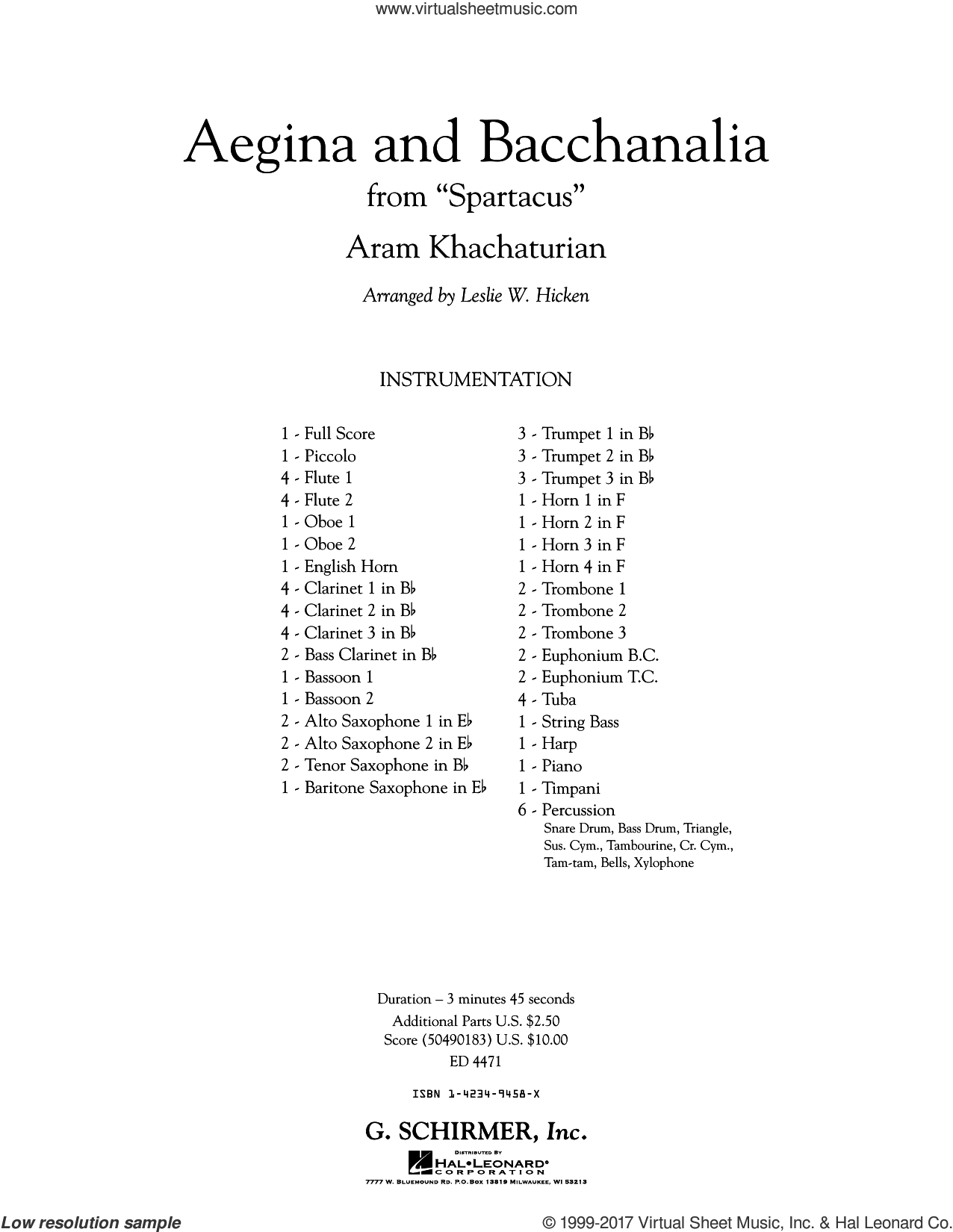 Aegina and Bacchanalia (from Spartacus) (COMPLETE) sheet music for concert band by Aram Khachaturian, classical score, intermediate. Score Image Preview.