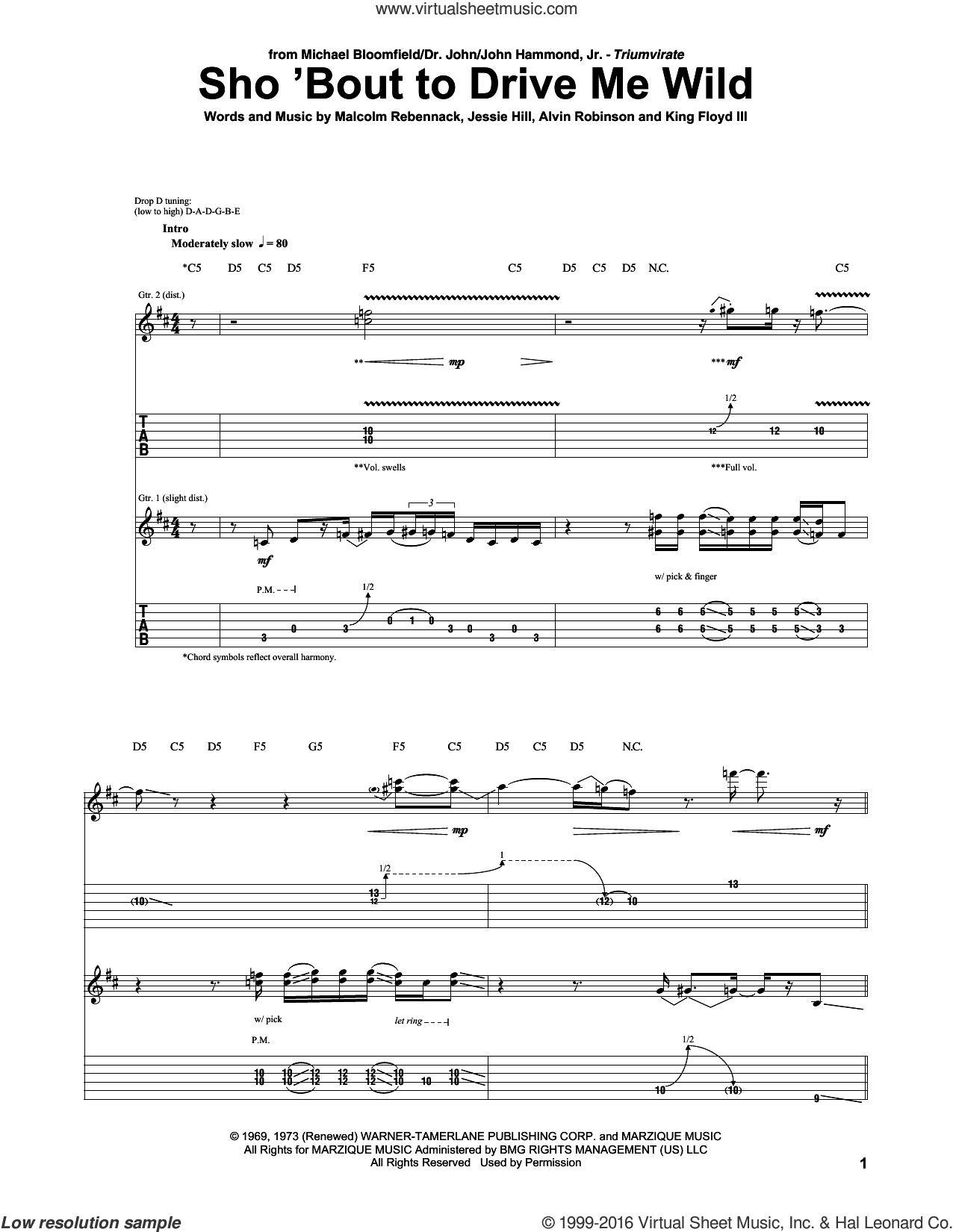 Sho 'Bout To Drive Me Wild sheet music for guitar (tablature) by Malcolm Rebennack. Score Image Preview.