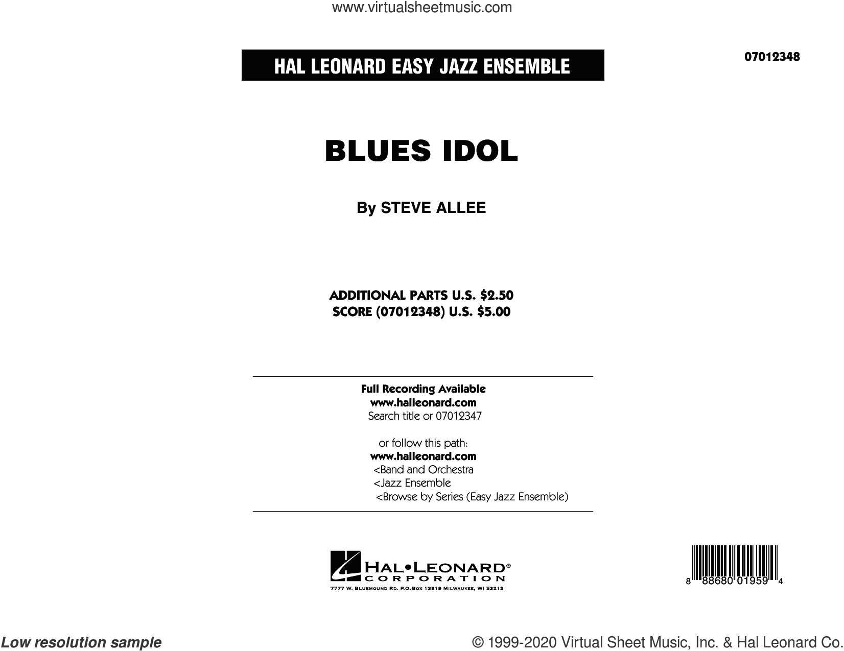 Blues Idol (COMPLETE) sheet music for jazz band by Steve Allee, intermediate skill level