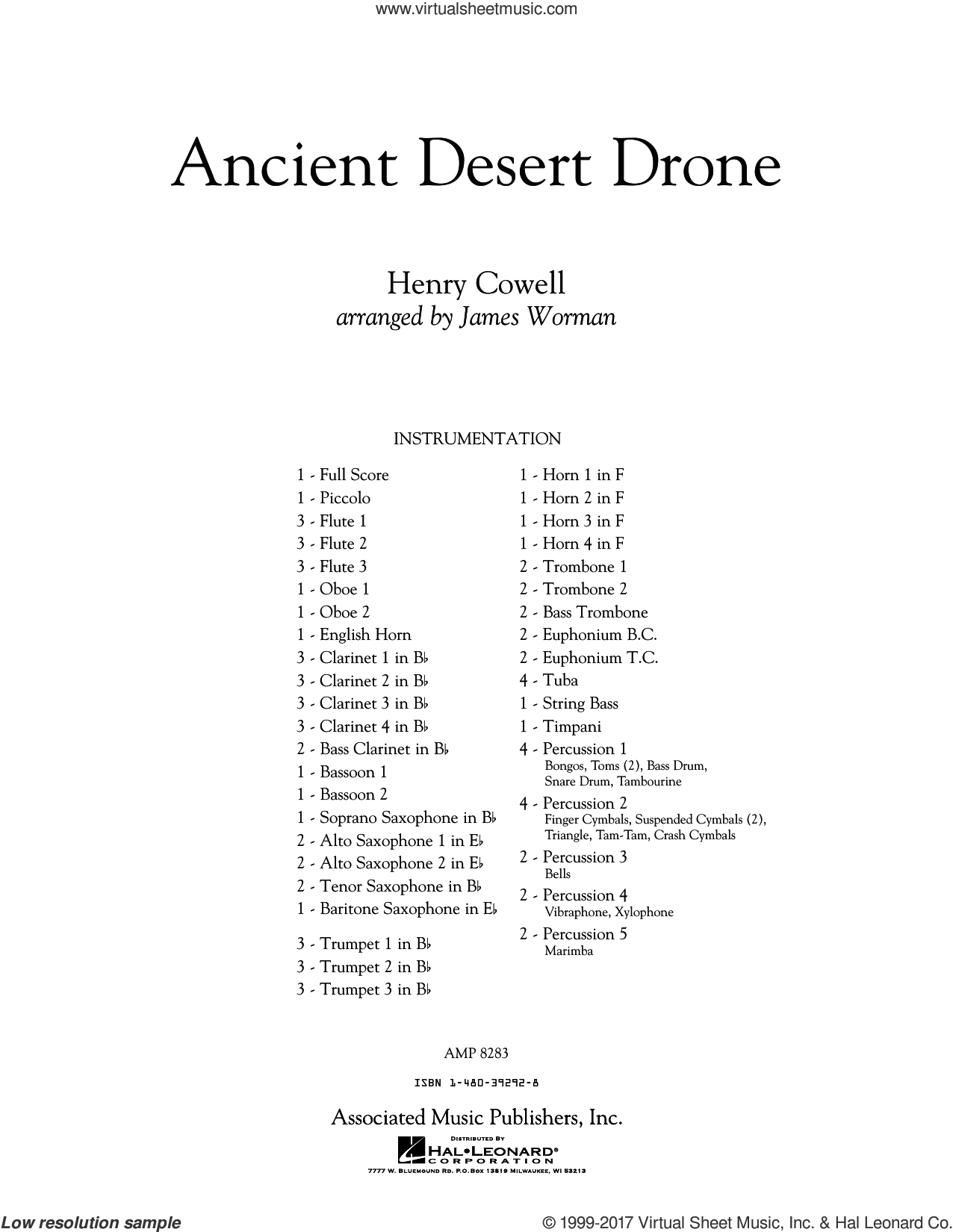 Ancient Desert Drone (COMPLETE) sheet music for concert band by James Worman, intermediate