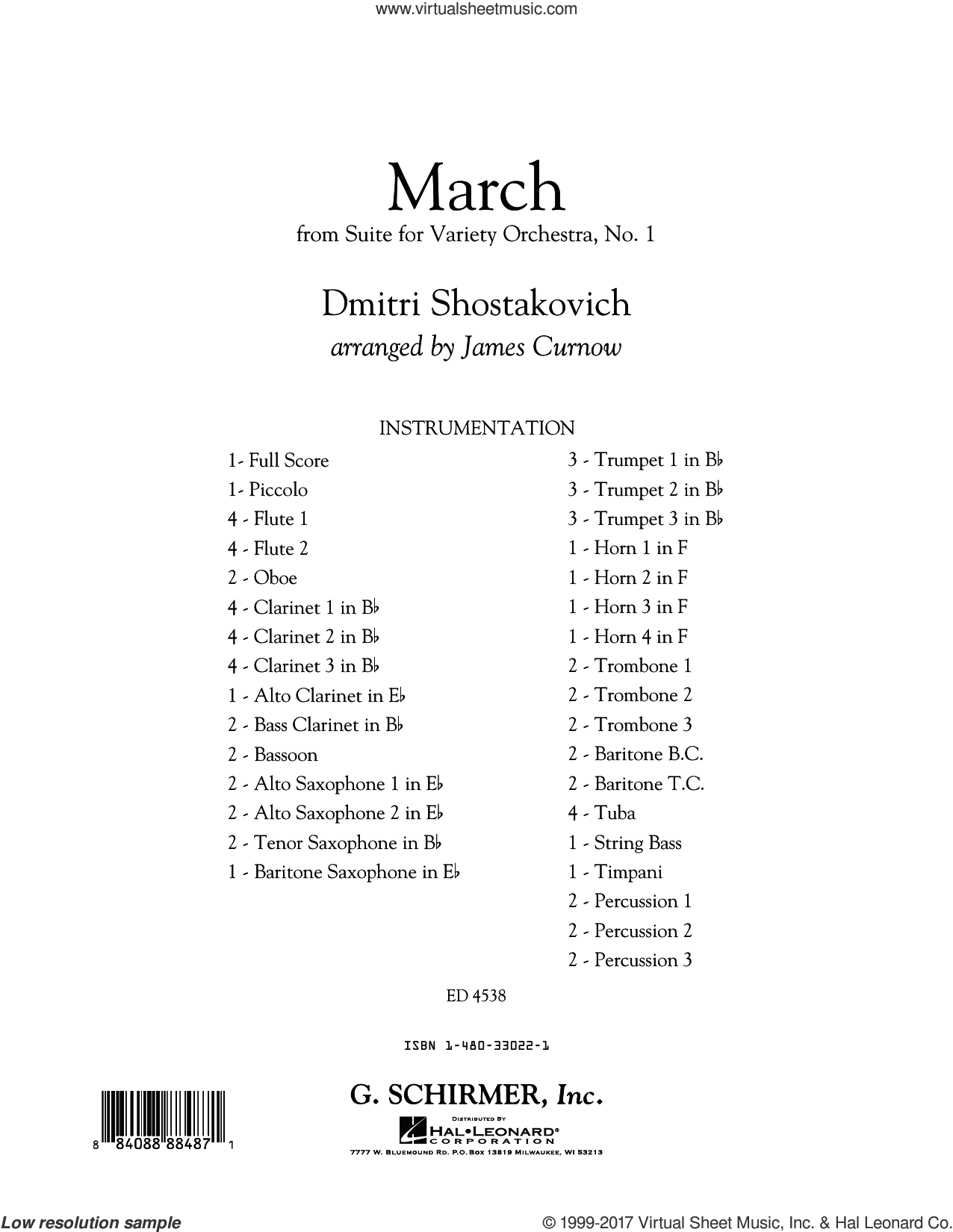 March from Suite for Variety Orchestra, No. 1 (COMPLETE) sheet music for concert band by James Curnow and Dmitri Shostakovich, classical score, intermediate skill level