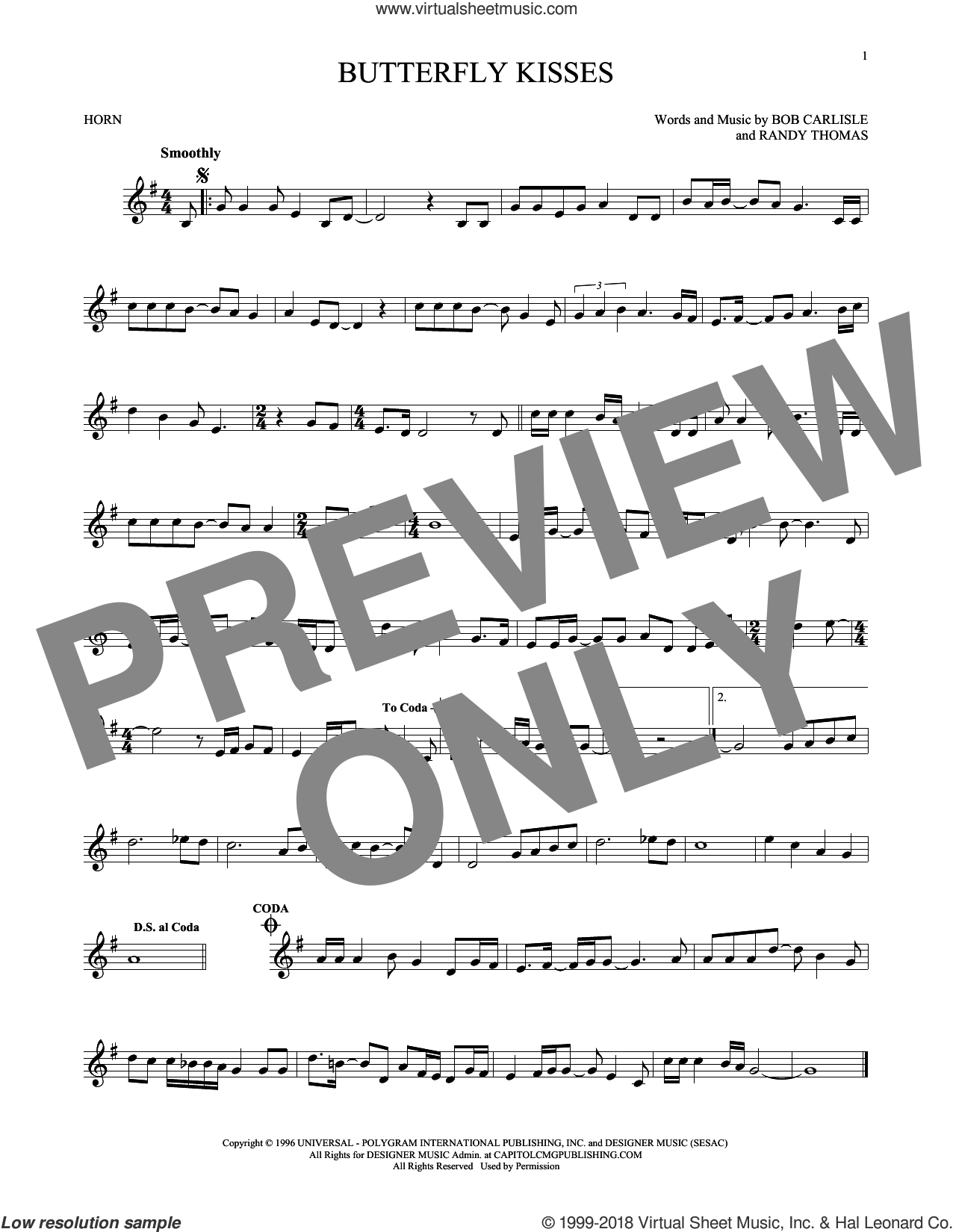 Butterfly Kisses sheet music for horn solo by Bob Carlisle, Jeff Carson and Randy Thomas, wedding score, intermediate skill level